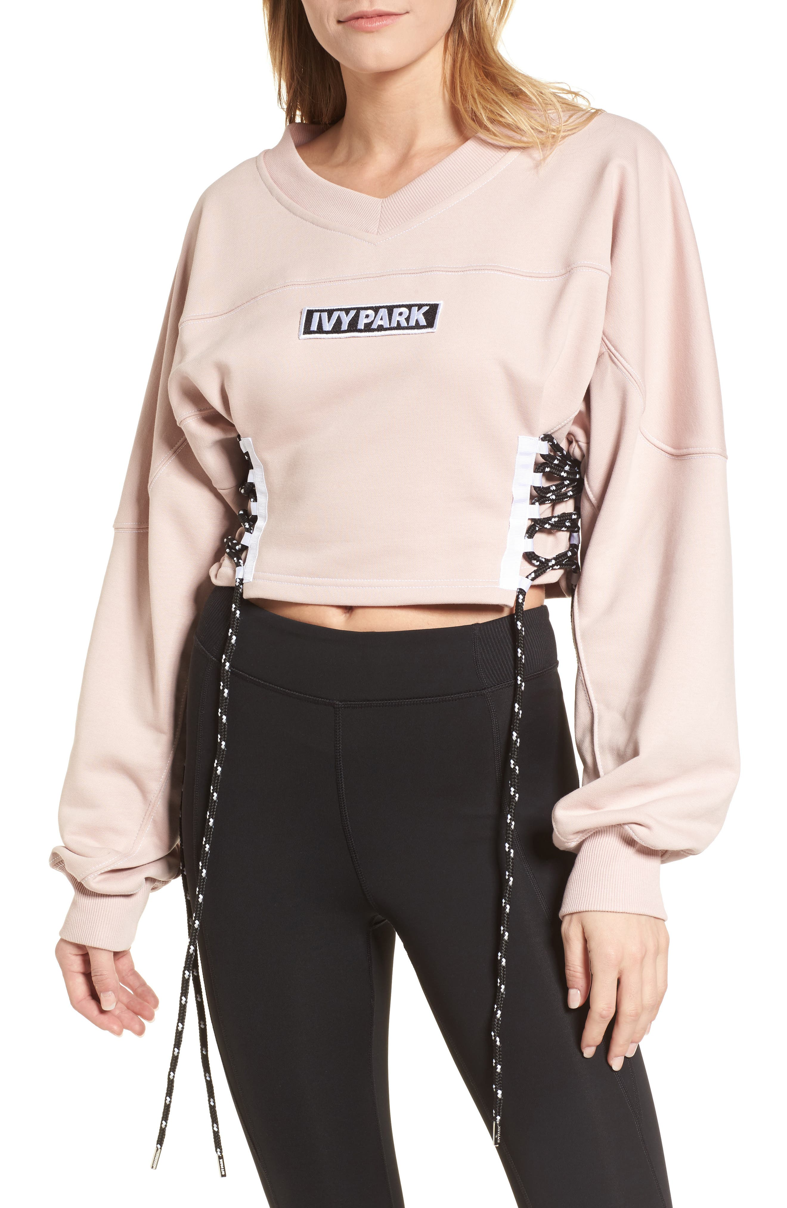 Main Image - IVY PARK® Football Lace-Up Sweatshirt
