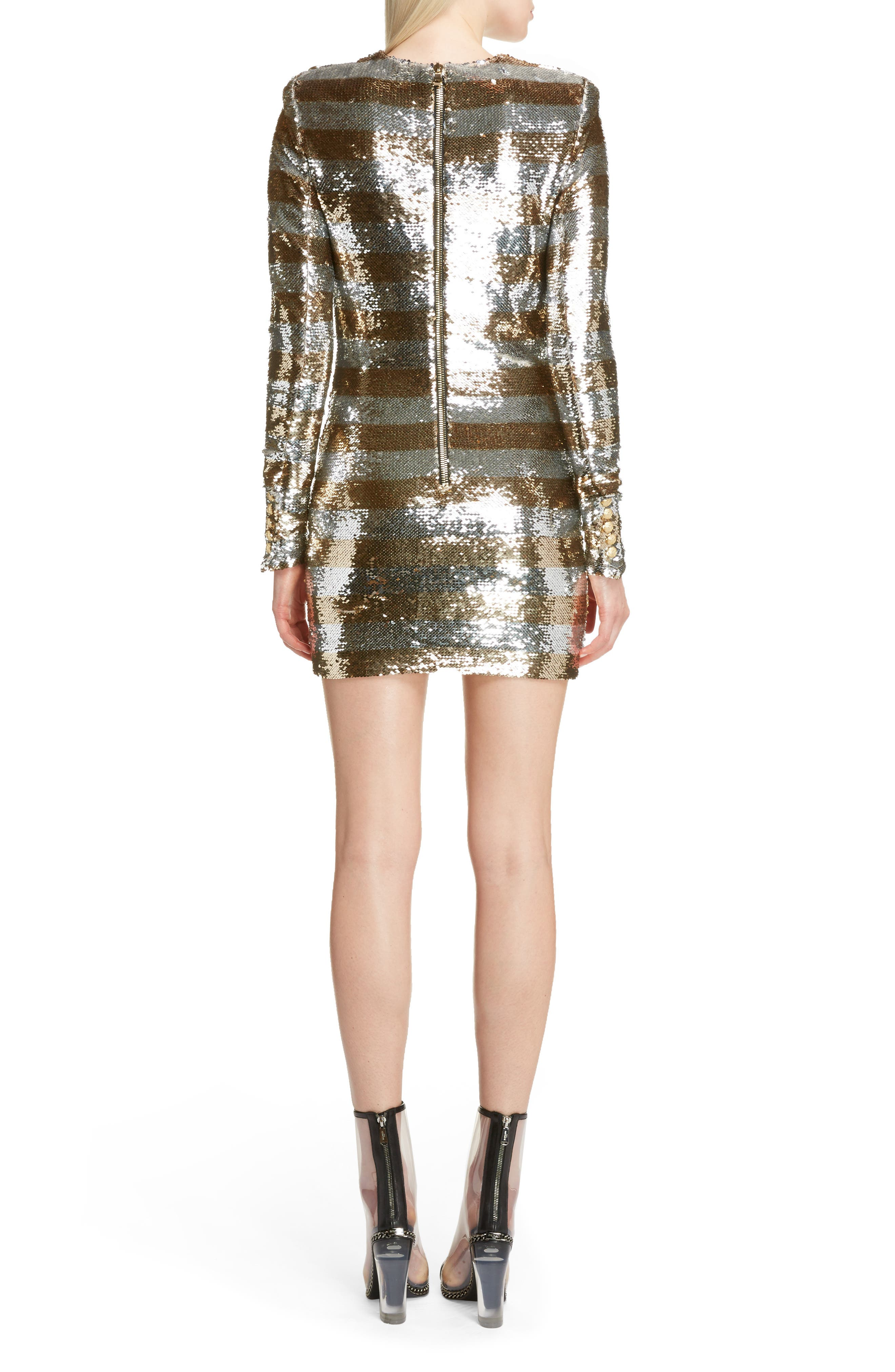 Sequin Stripe Minidress,                             Alternate thumbnail 2, color,                             Argent Dore