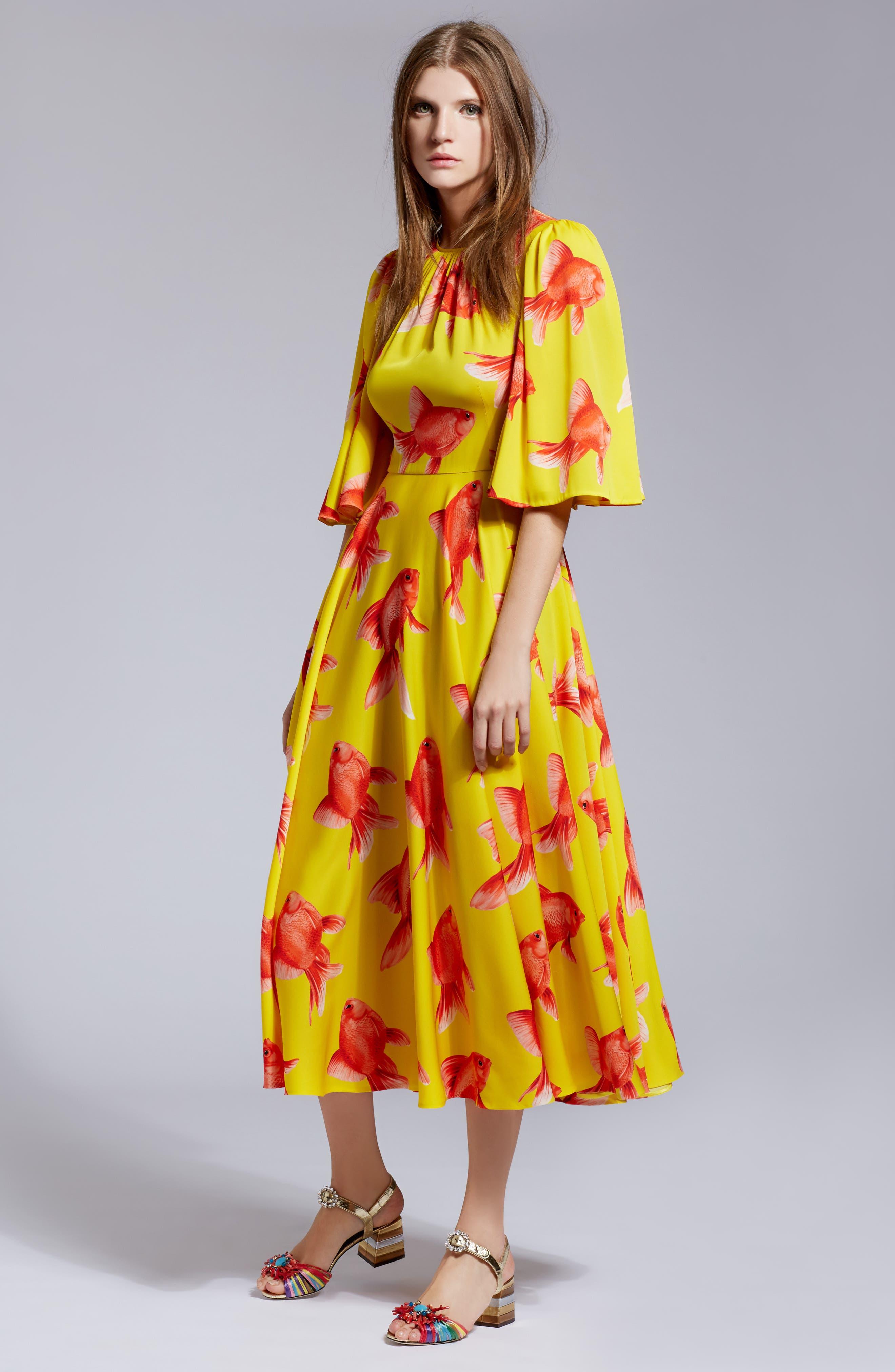 Goldfish Print Silk Blend Charmeuse Dress,                             Alternate thumbnail 2, color,                             Pesci