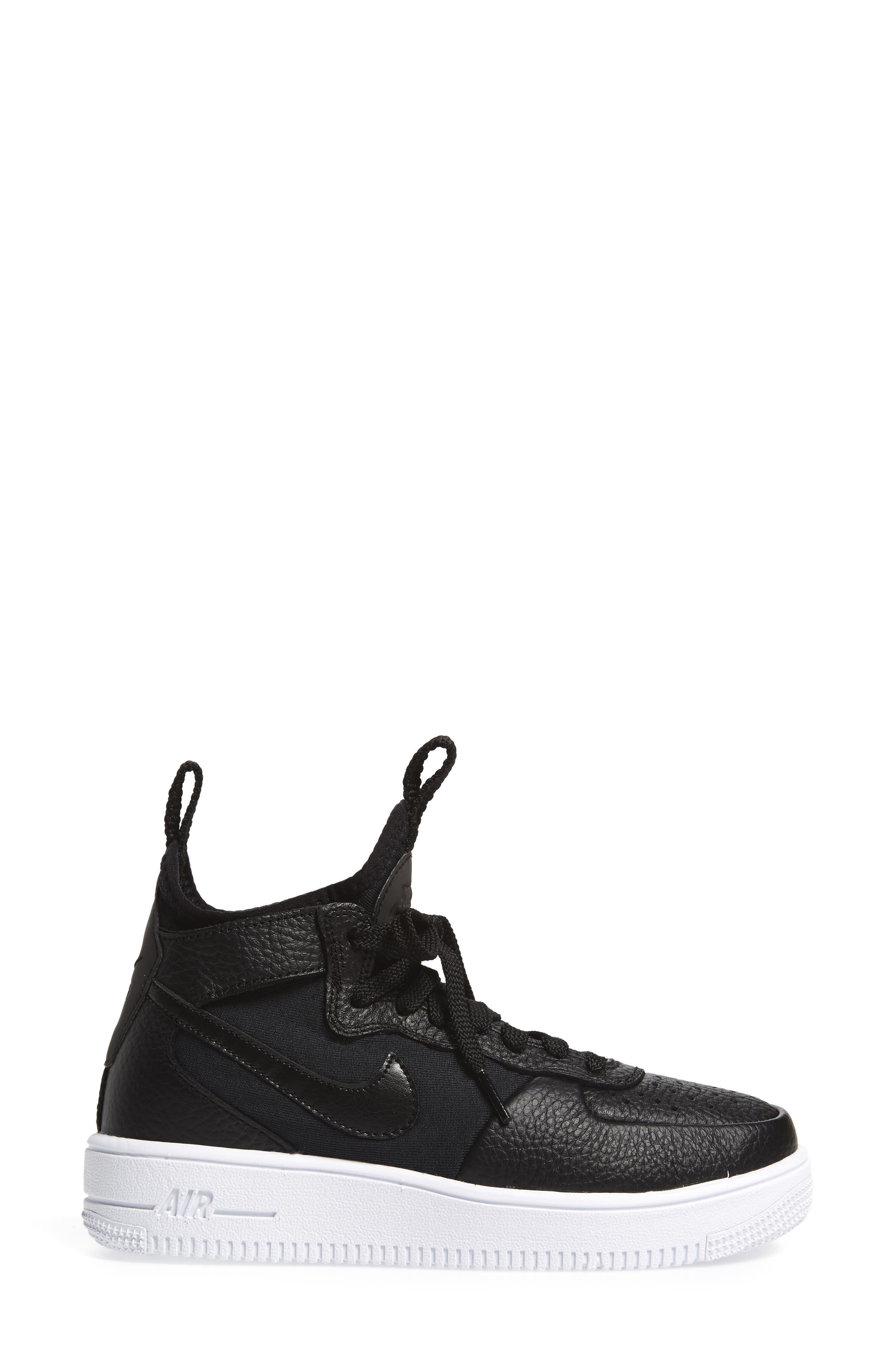 Air Force 1 Ultraforce Mid Sneaker,                             Alternate thumbnail 3, color,                             Black/ Black