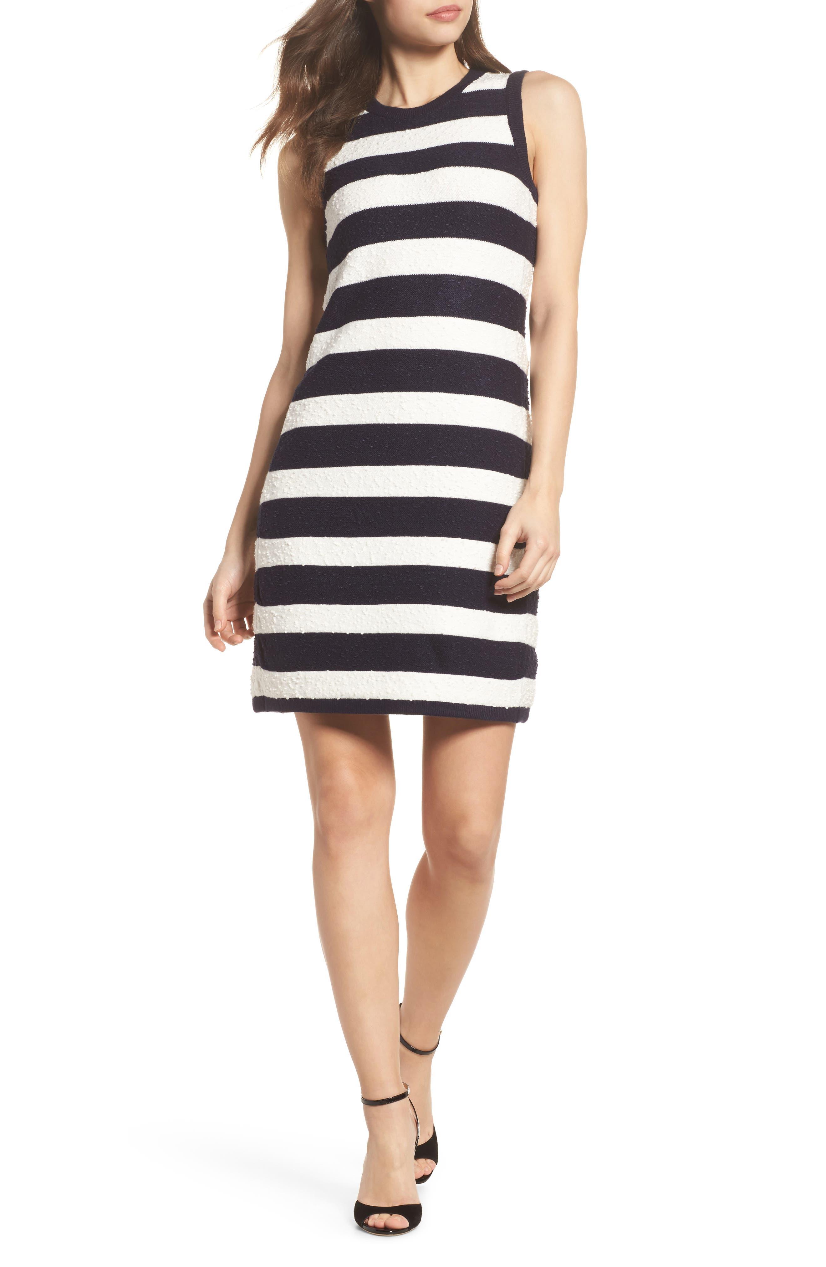 Stripe Sweater Dress,                             Main thumbnail 1, color,                             Navy/ Ivory