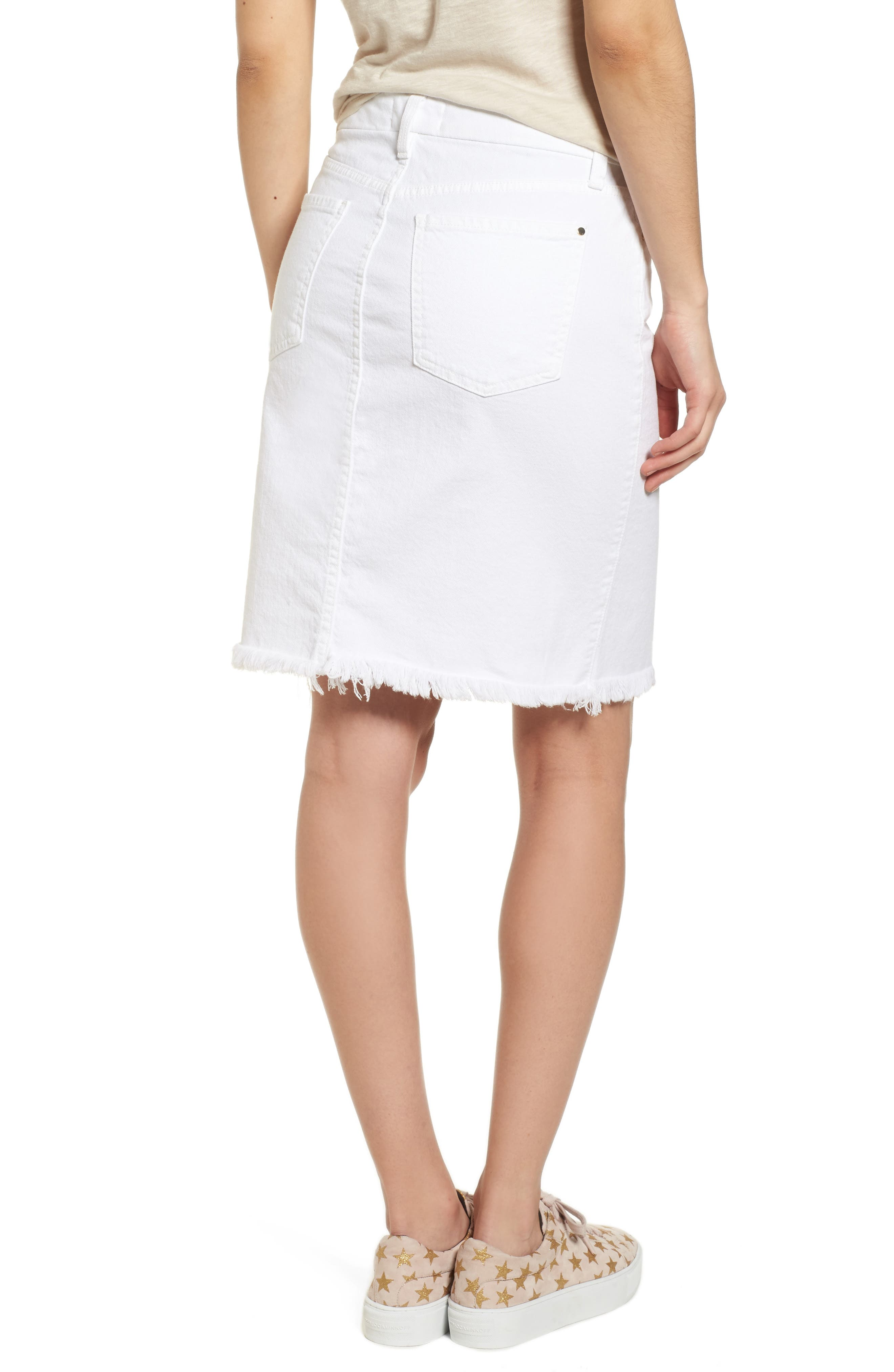Alternate Image 2  - Jen7 Frayed Hem Denim Pencil Skirt