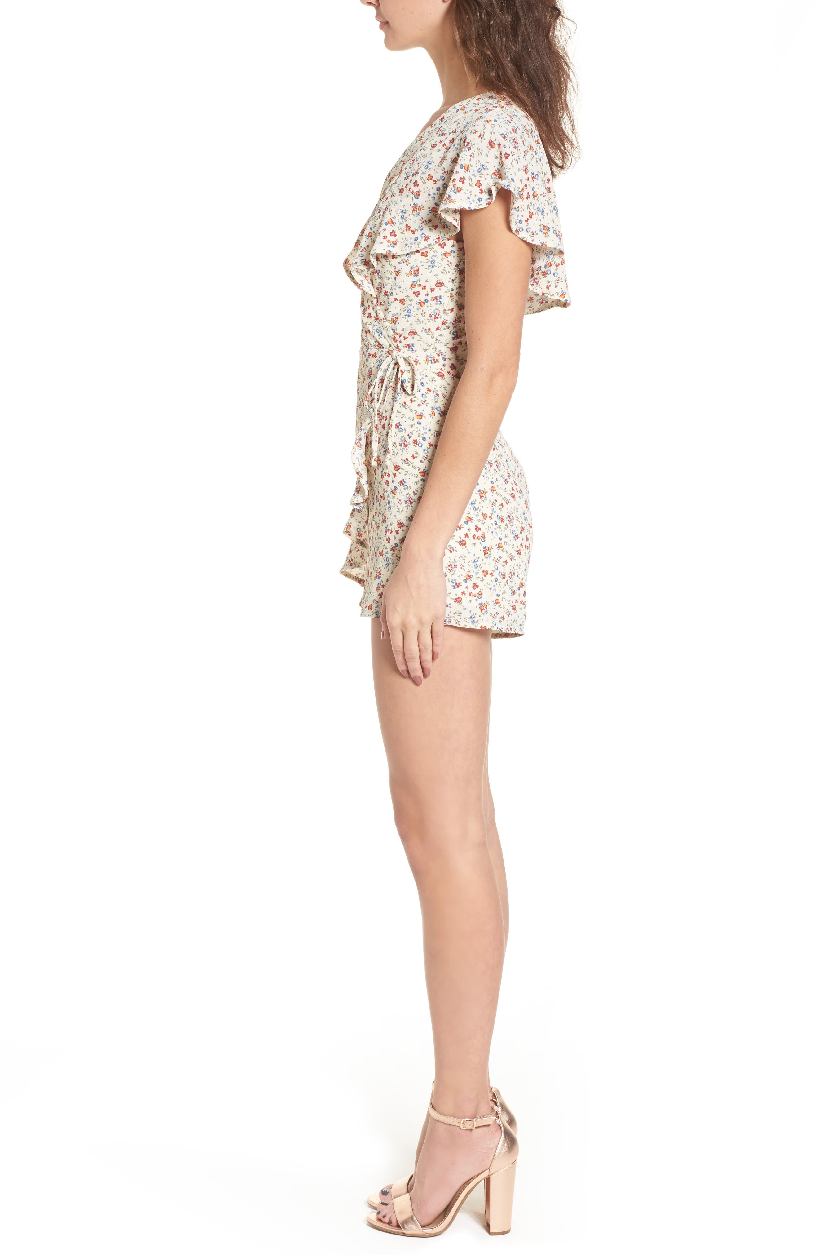 Ruffle Romper,                             Alternate thumbnail 3, color,                             Taupe Floral