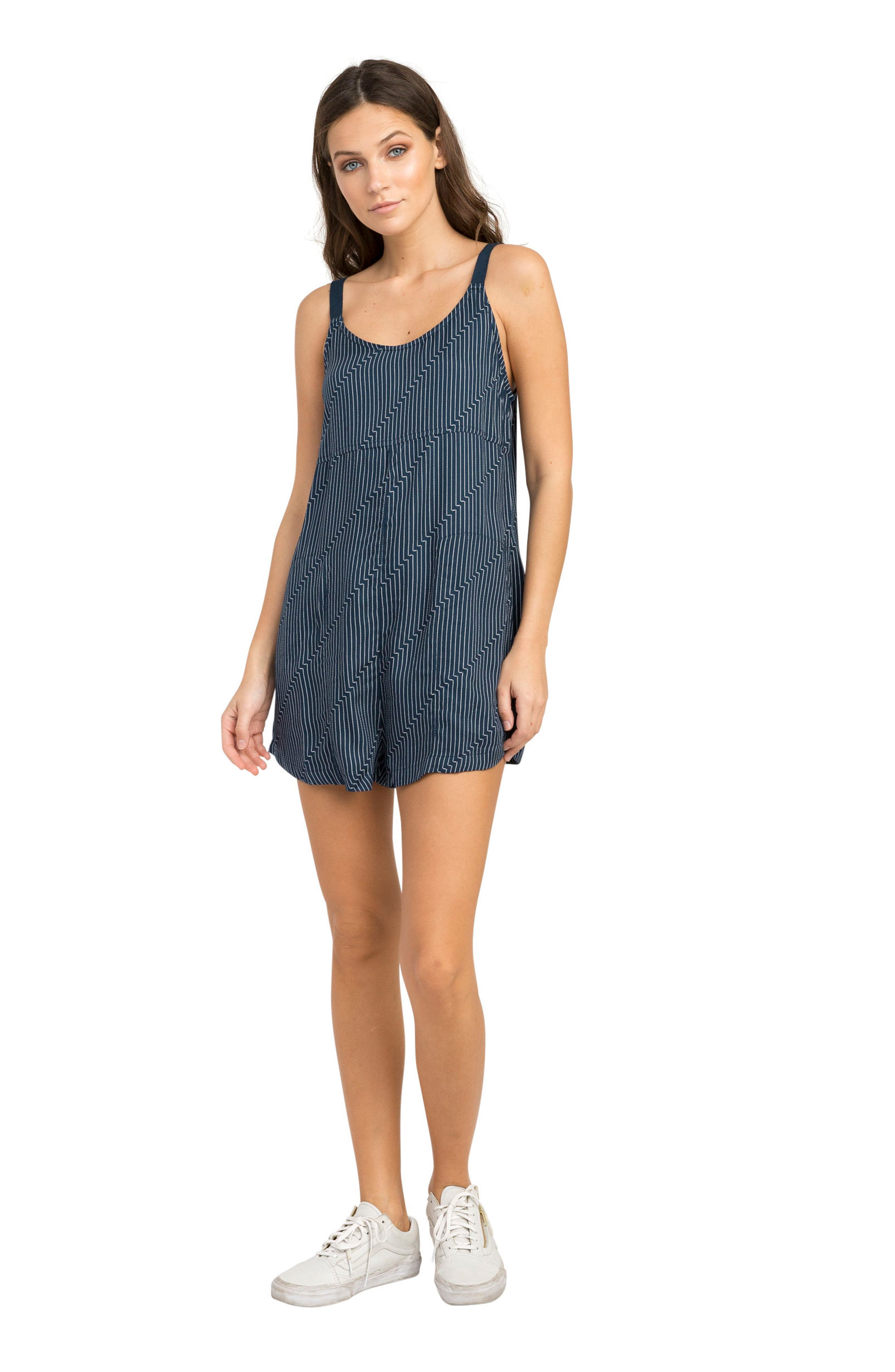 Jury's Out Zigzag Romper,                             Alternate thumbnail 3, color,                             Navy