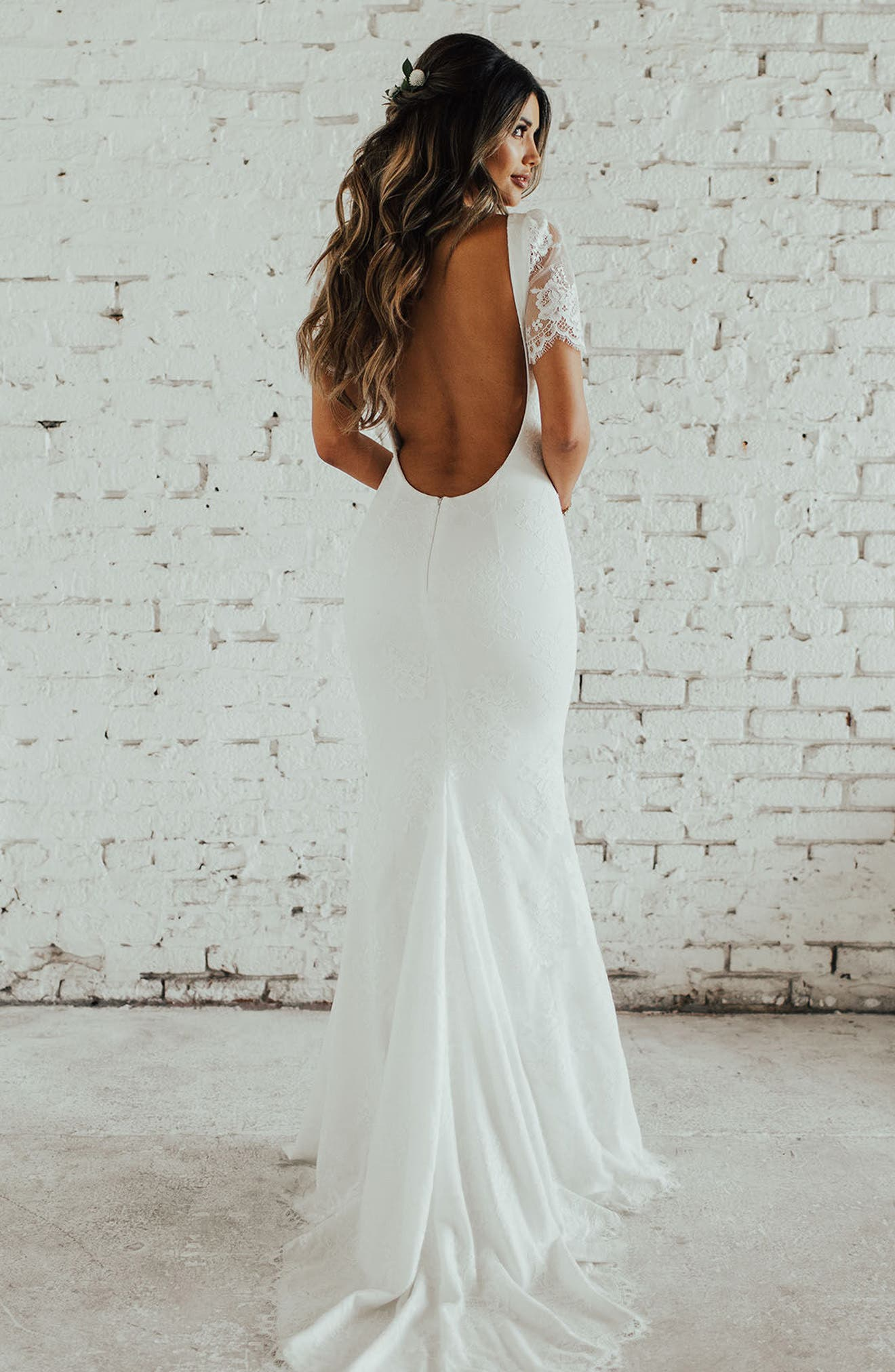 Malaga Lace Trumpet Gown,                             Alternate thumbnail 2, color,                             Ivory/ Ivory