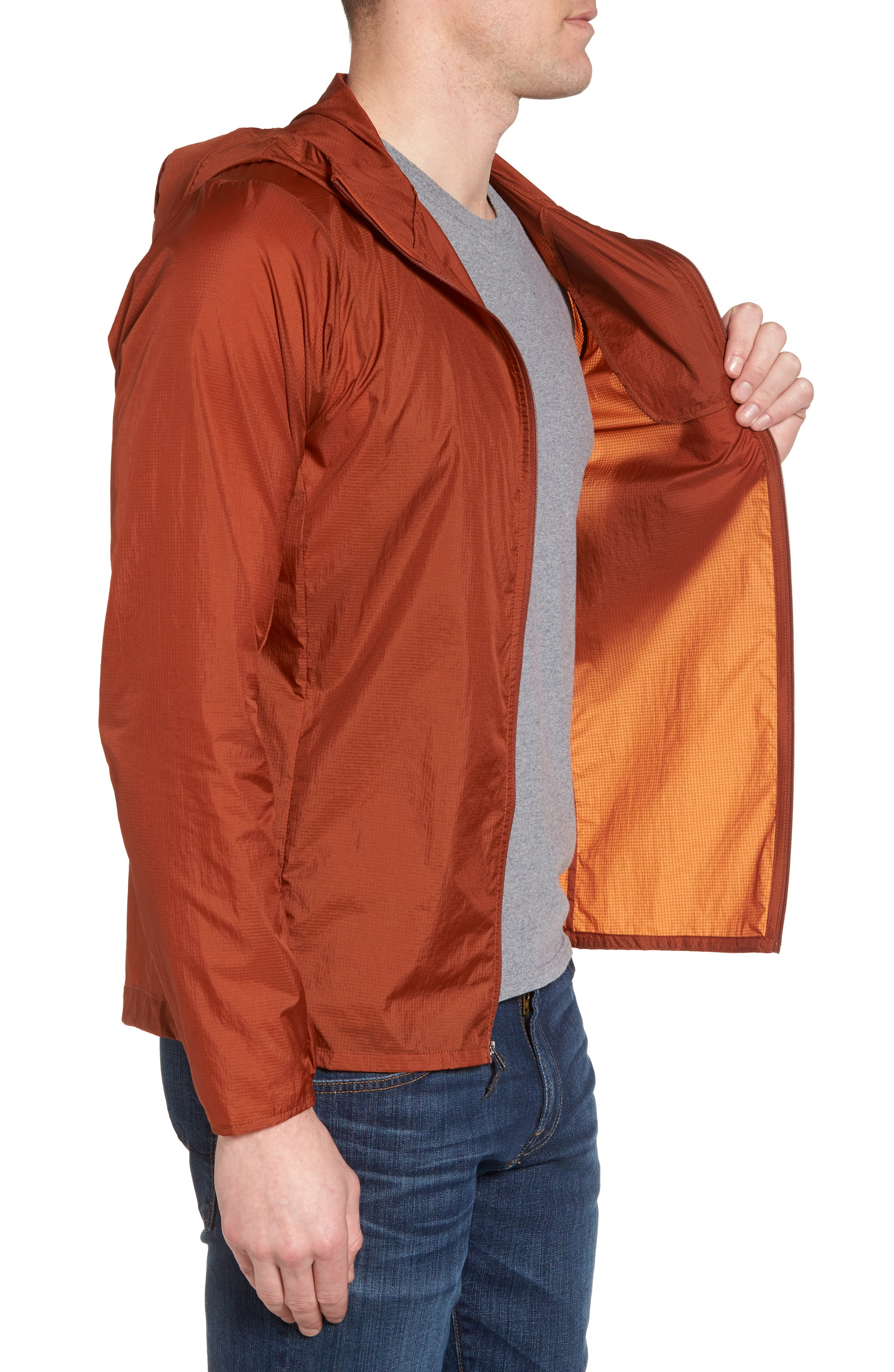 'Houdini' Slim Fit Water Repellent Hooded Jacket,                             Alternate thumbnail 3, color,                             Copper Ore