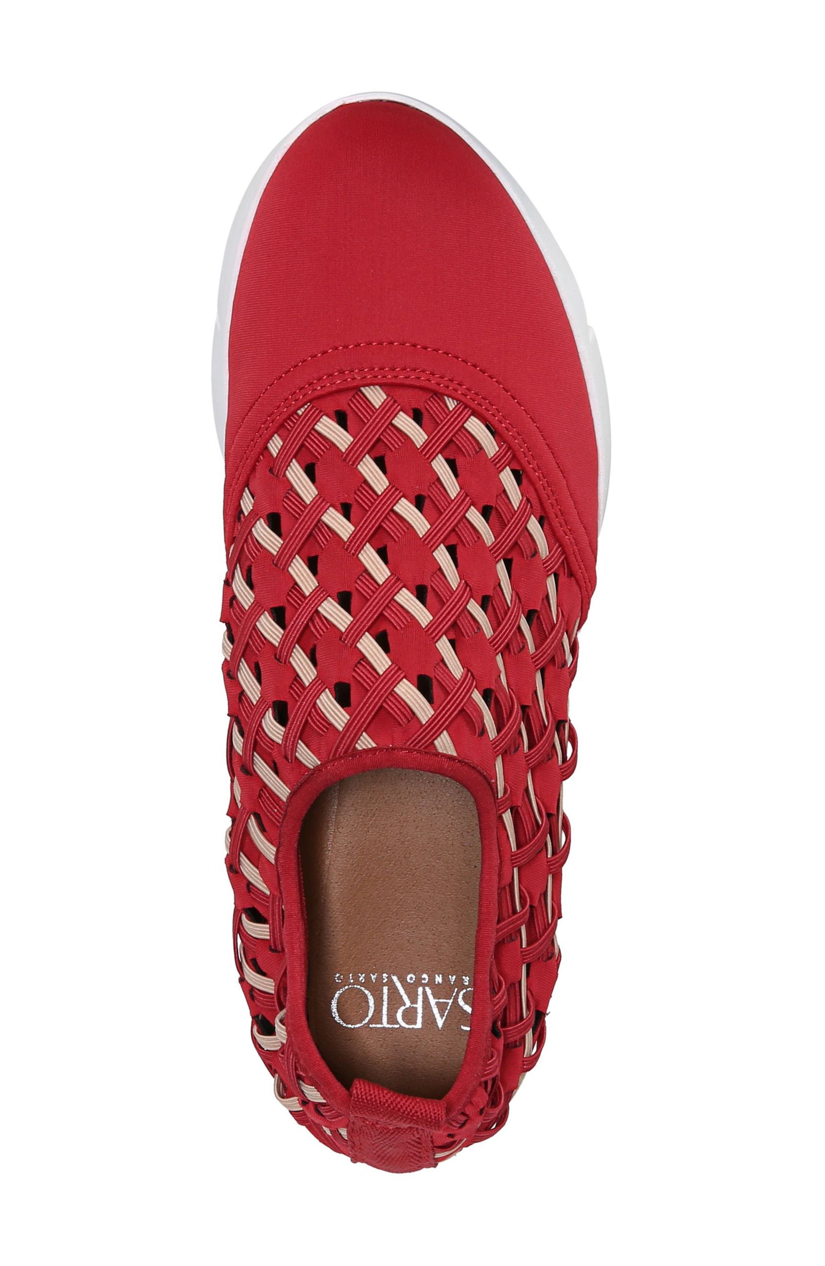 Fallan Woven Slip-On Sneaker,                             Alternate thumbnail 5, color,                             Deep Red Leather