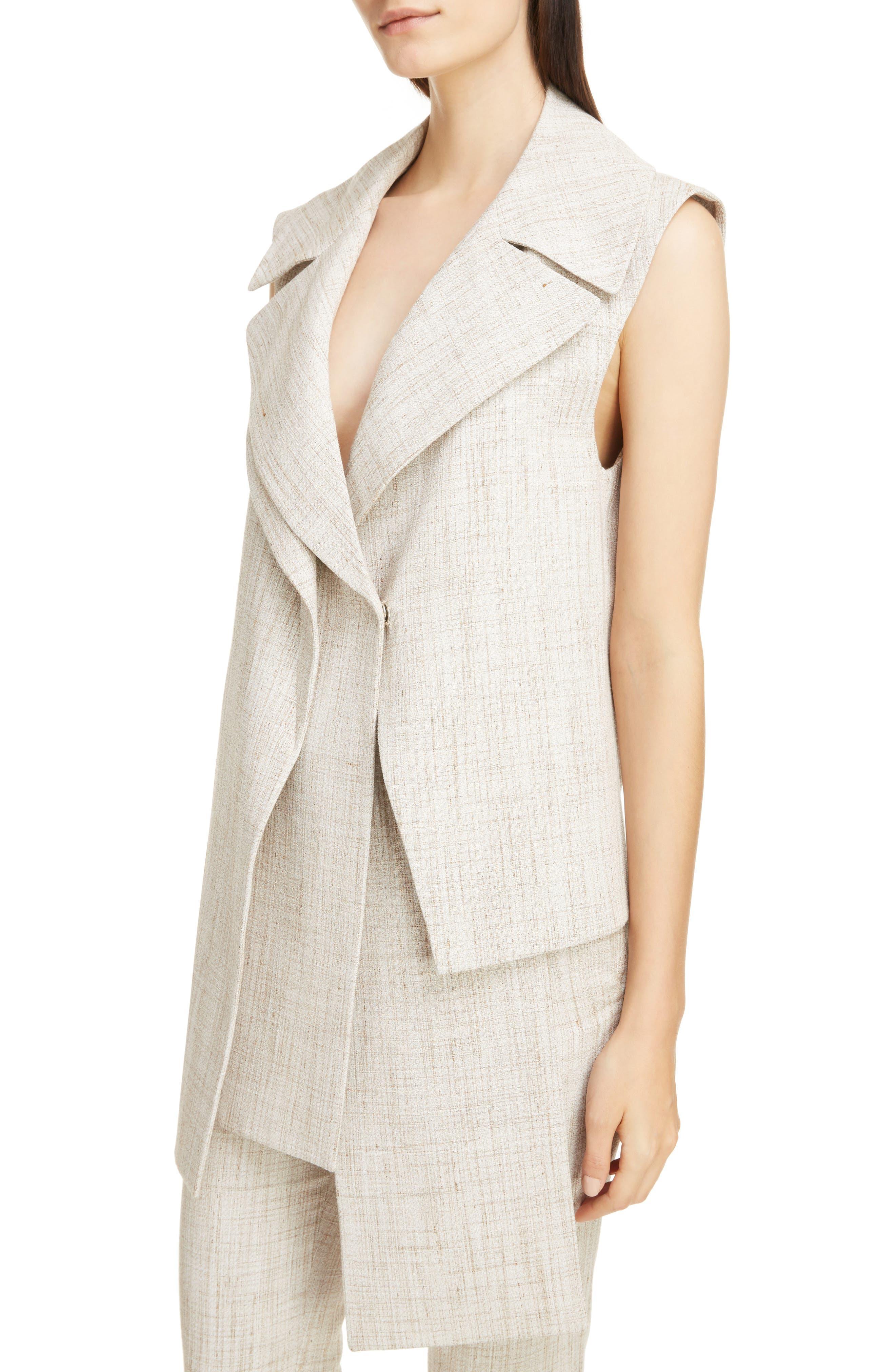 Asymmetrical Tweed Vest,                             Alternate thumbnail 4, color,                             White-Beige