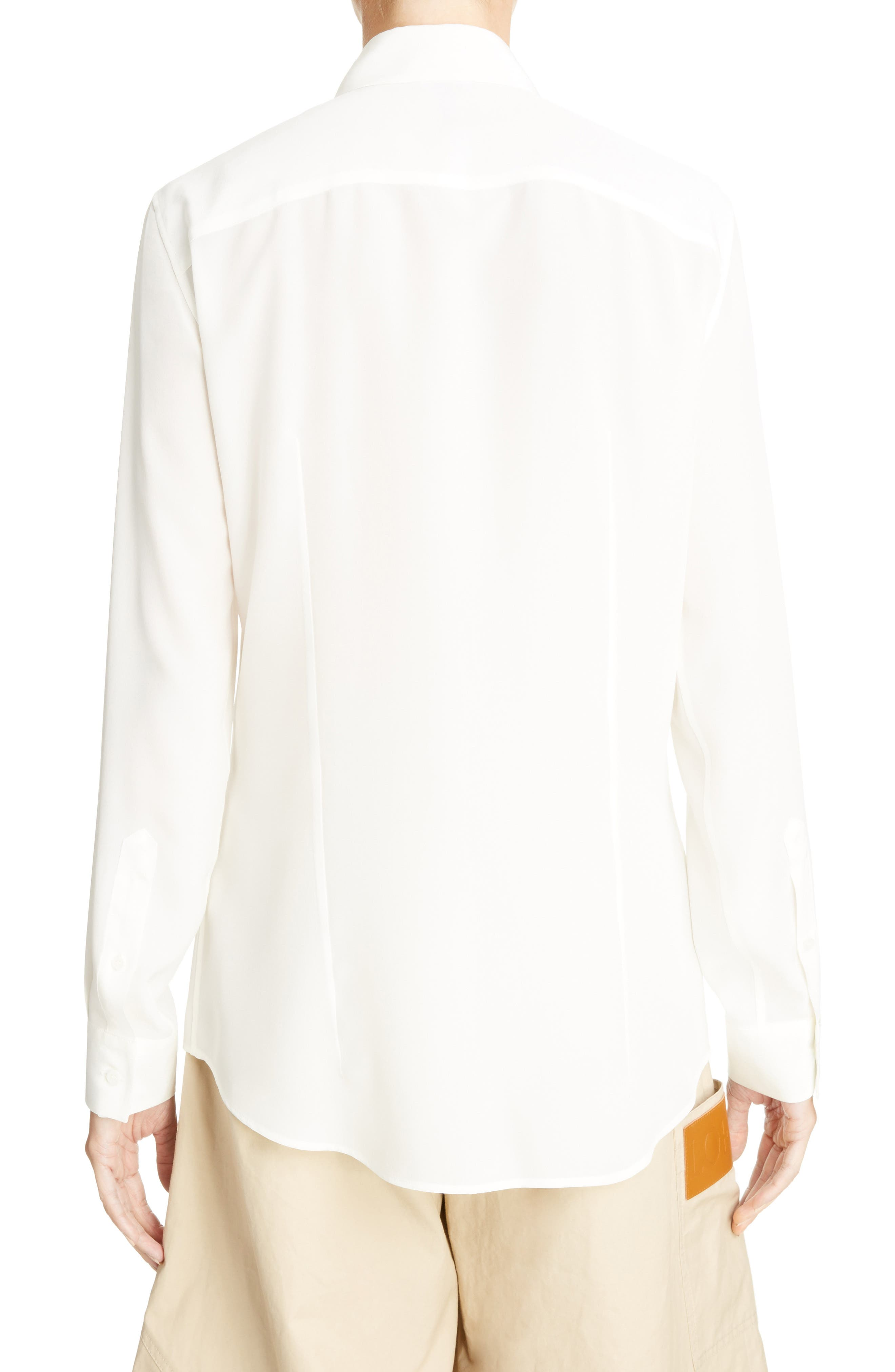 Tassel Placket Silk Shirt,                             Alternate thumbnail 2, color,                             White