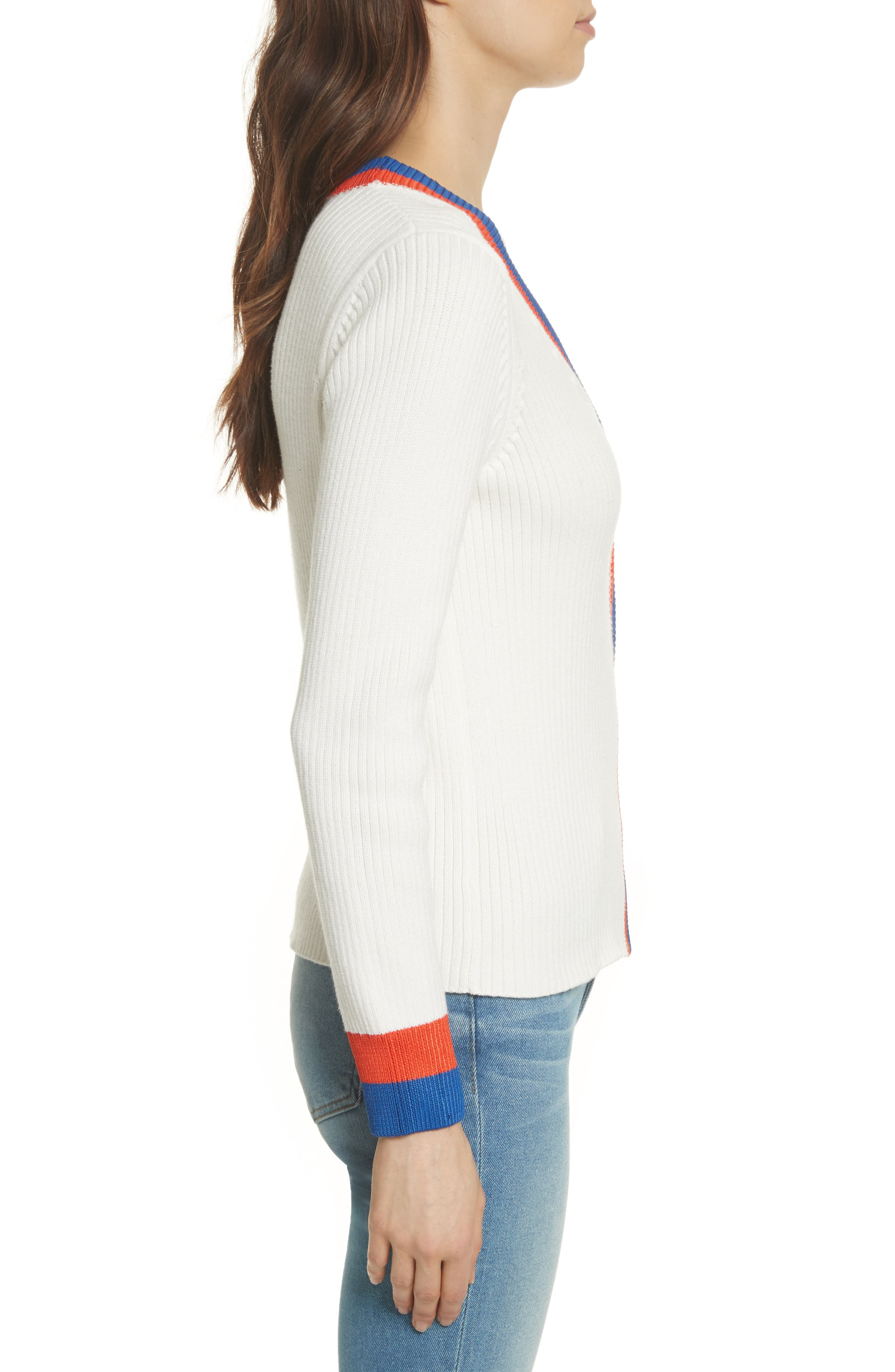 The Thompson Button Cardigan,                             Alternate thumbnail 3, color,                             Cream/ Poppy/ Navy