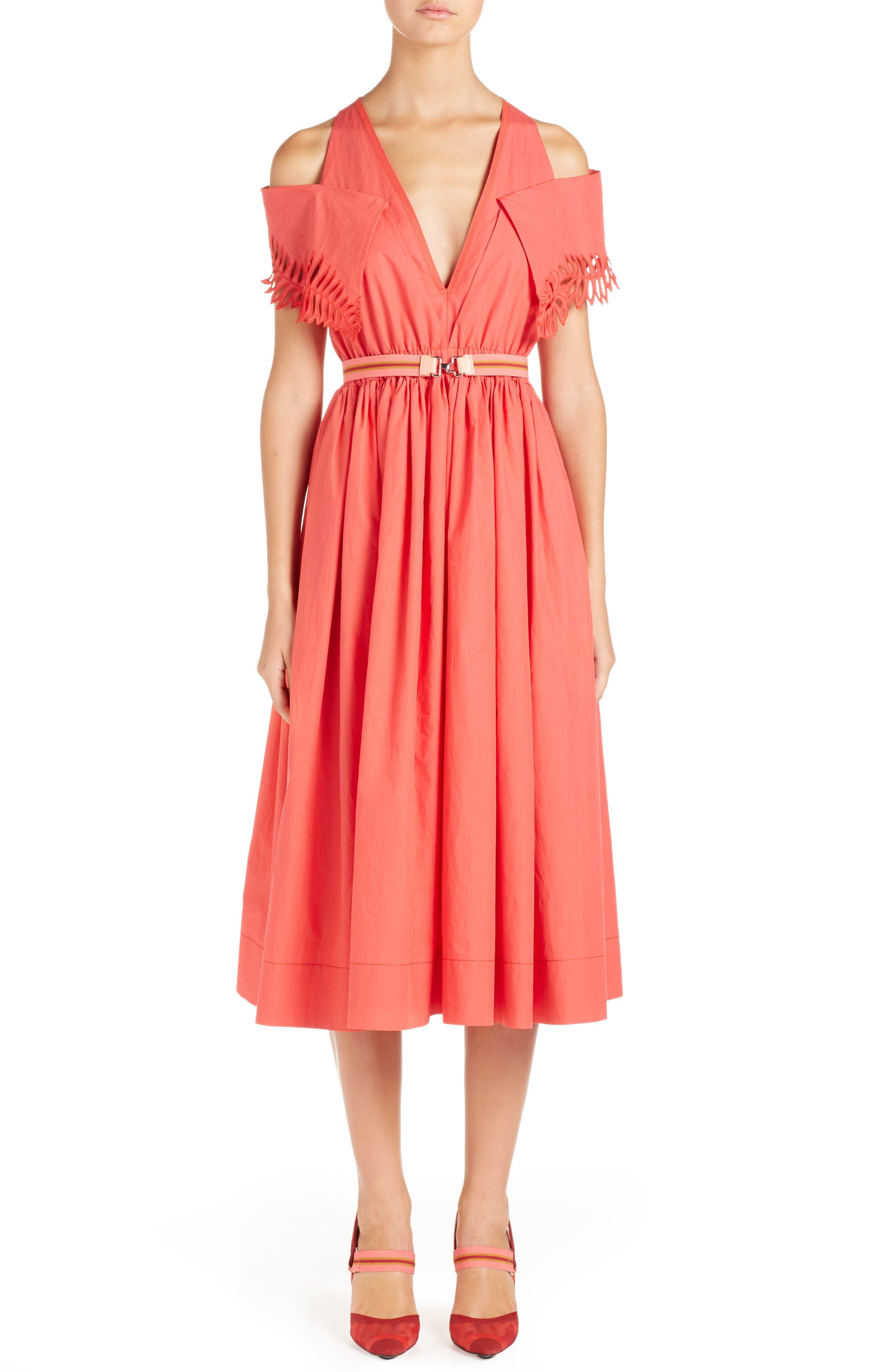 Main Image - Fendi Cold Shoulder Taffeta Midi Dress