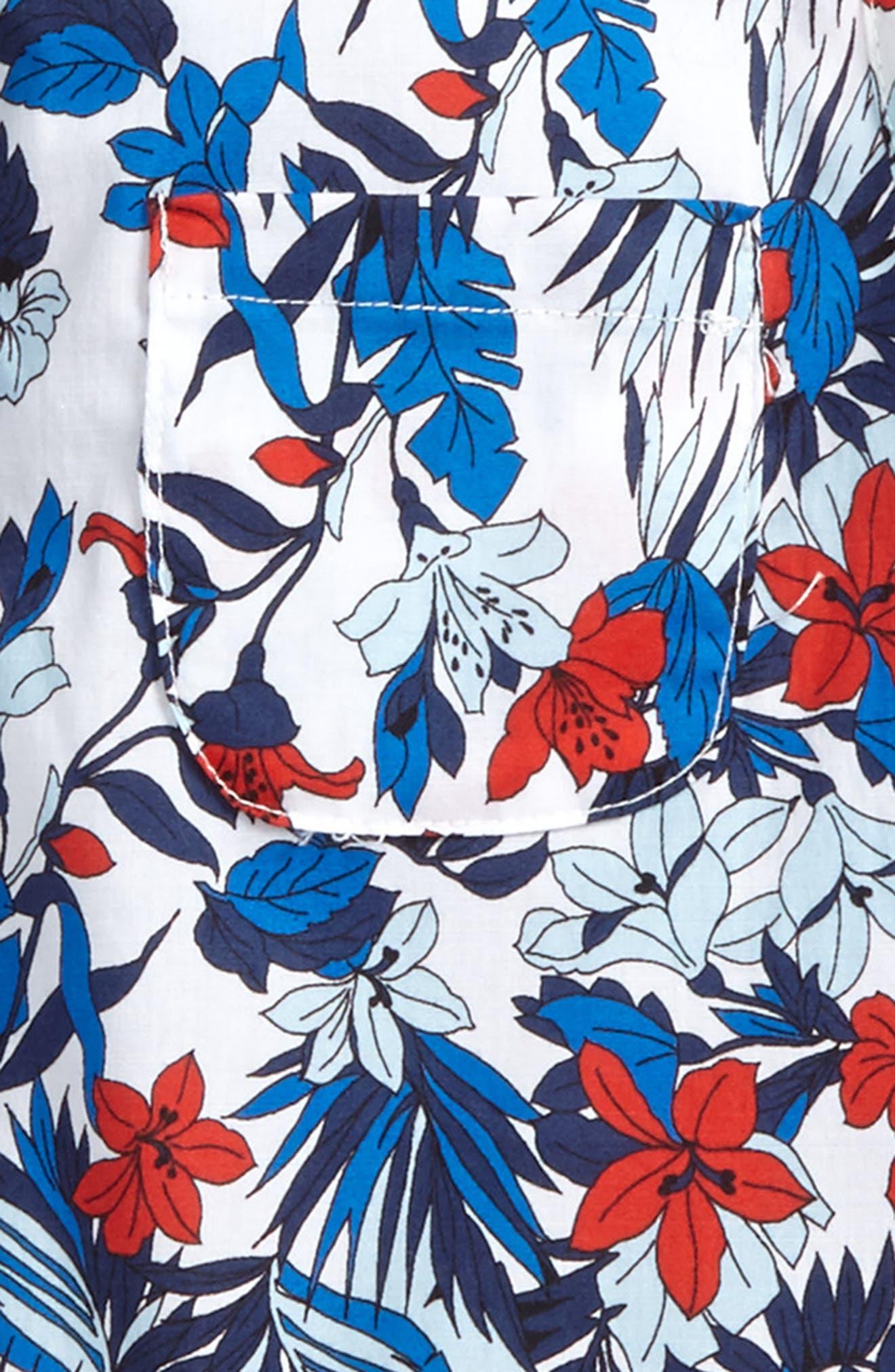 Tie Back Sleeveless Top,                             Alternate thumbnail 3, color,                             Blue Multi