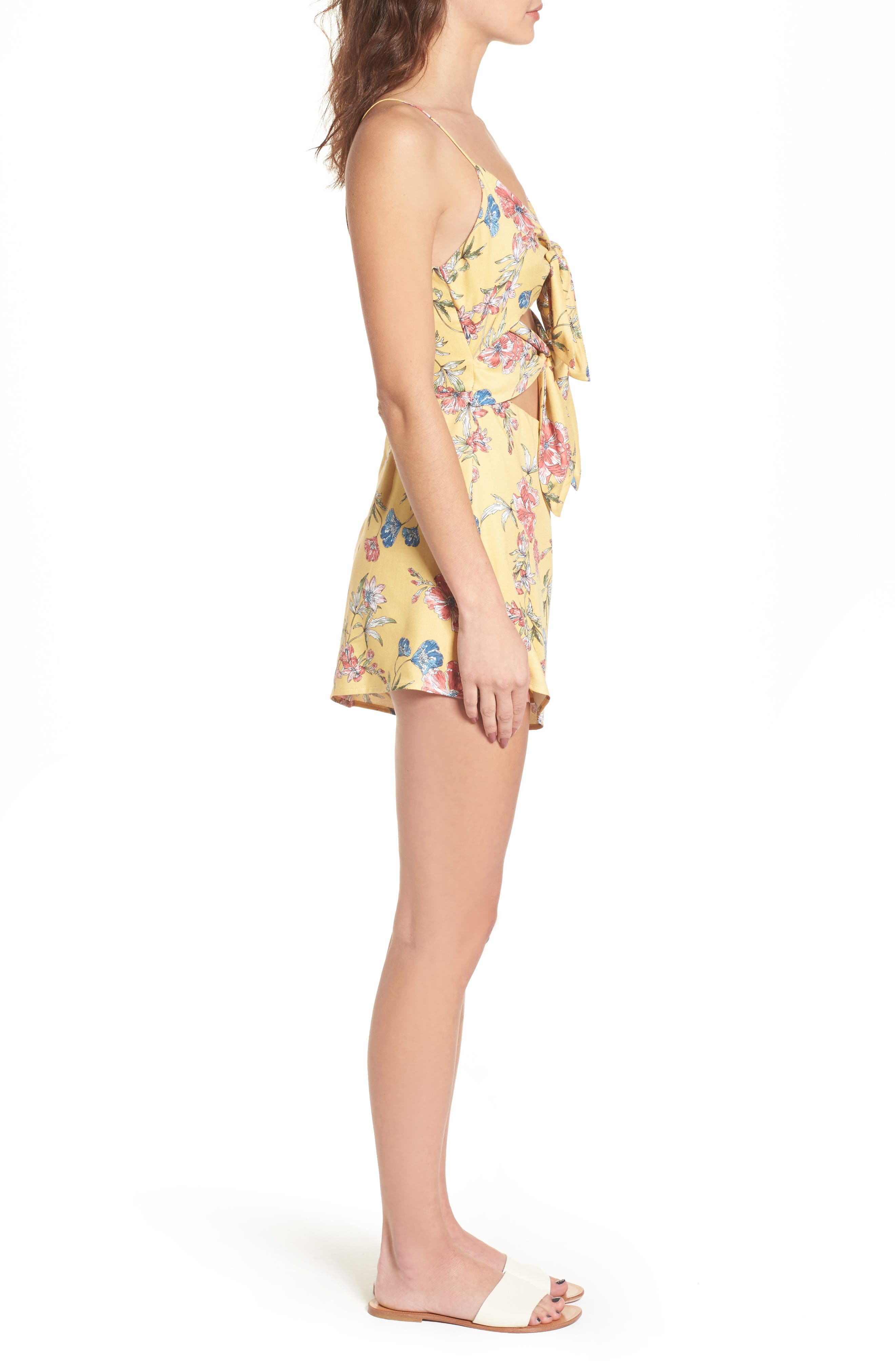 Double Tie Front Romper,                             Alternate thumbnail 3, color,                             Mustard Wine Floral