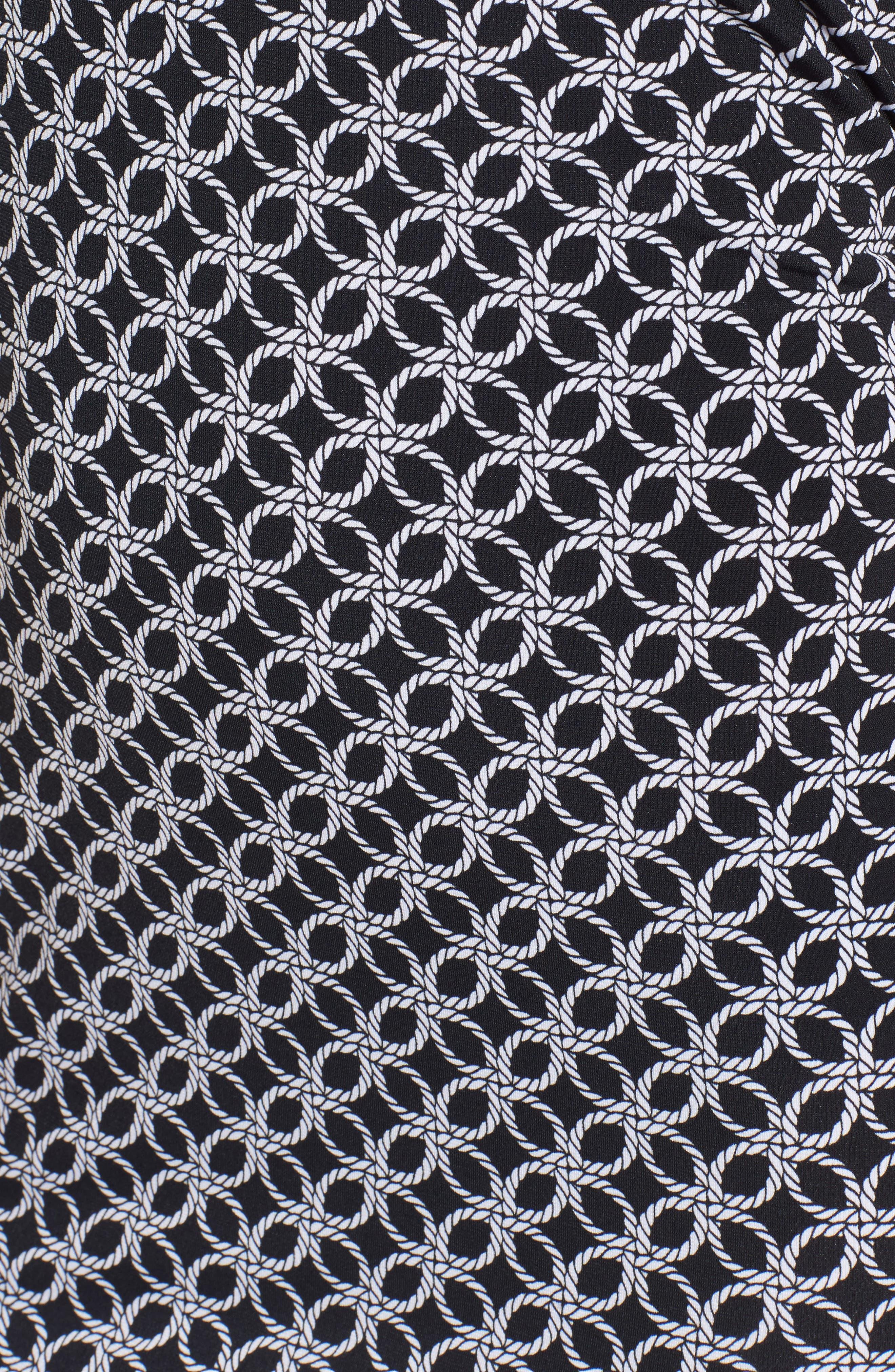 Rope Twist Body-Con Dress,                             Alternate thumbnail 5, color,                             Black/ White