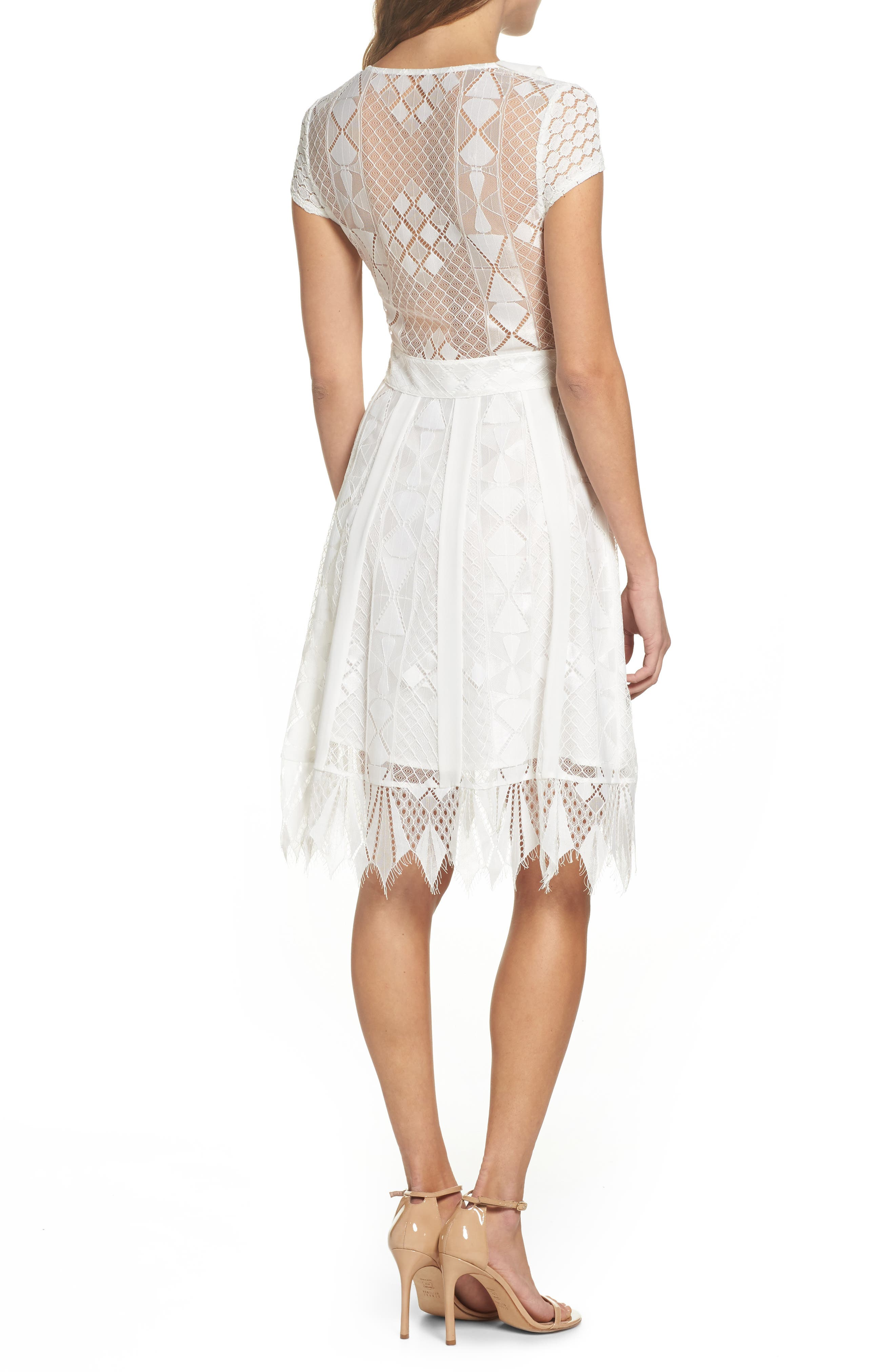 Florence Geo Lace Fit & Flare Dress,                             Alternate thumbnail 2, color,                             White