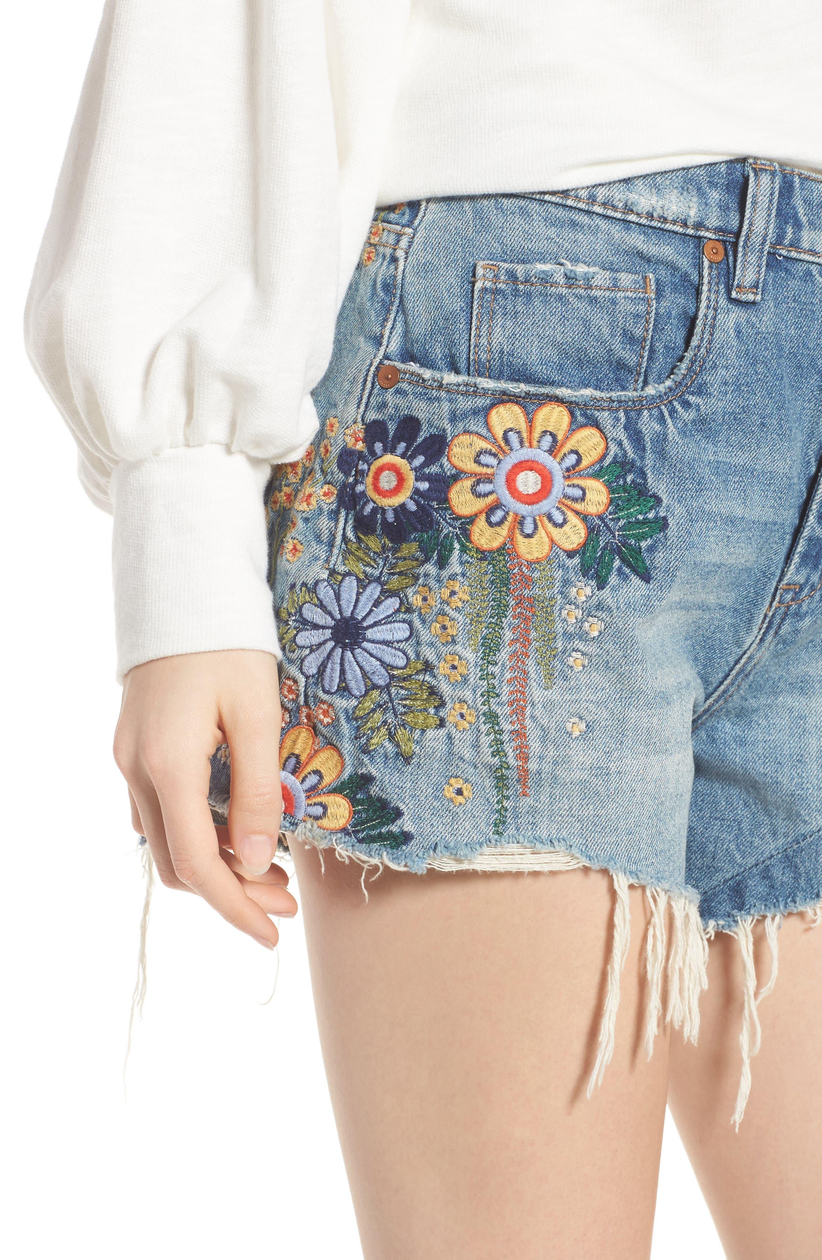 Sonic Bloom Embroidered Denim Shorts,                             Alternate thumbnail 4, color,                             Blue