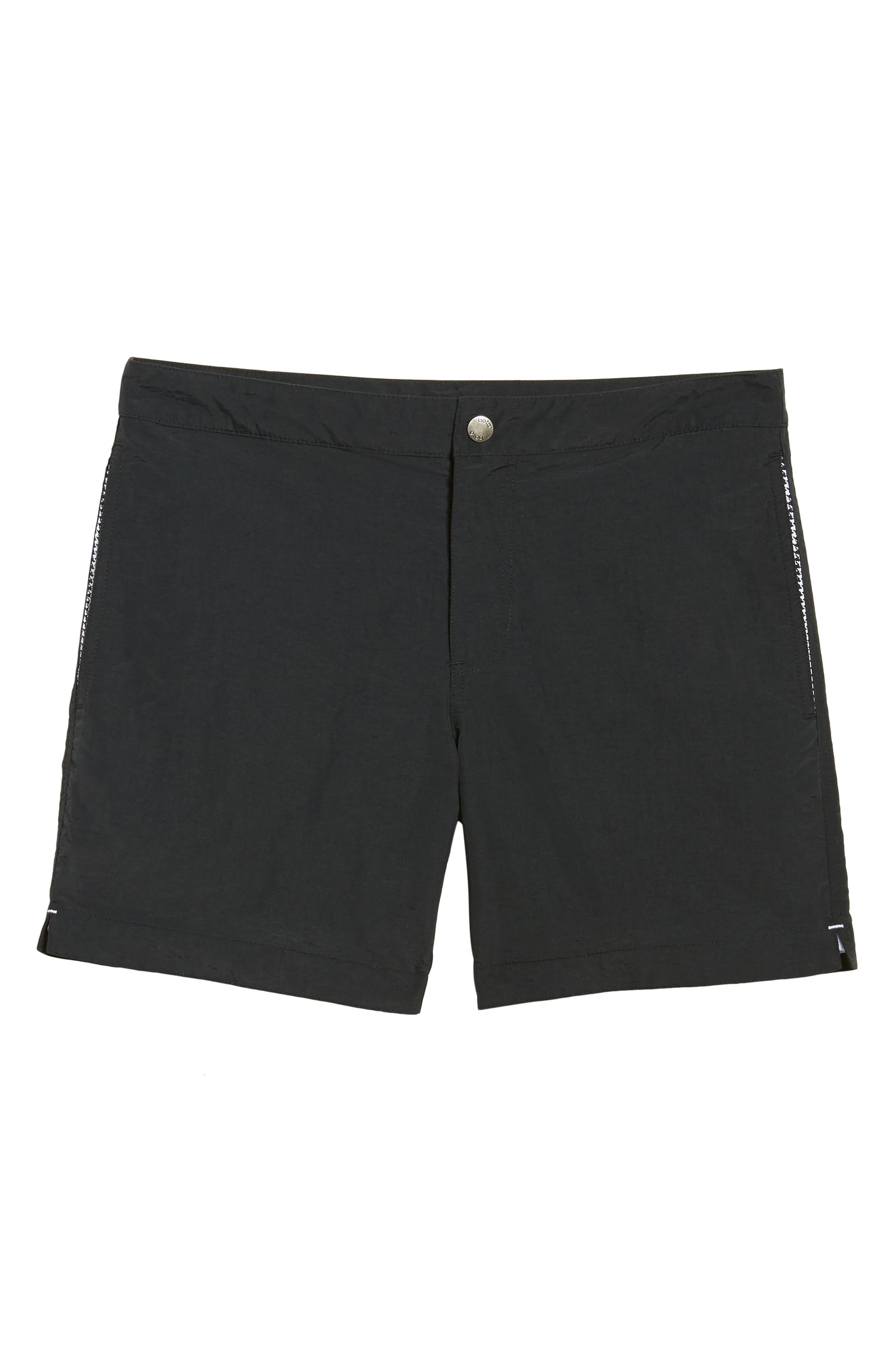 'Aruba' Tailored Fit Swim Trunks,                             Alternate thumbnail 6, color,                             Midnight Black Solid
