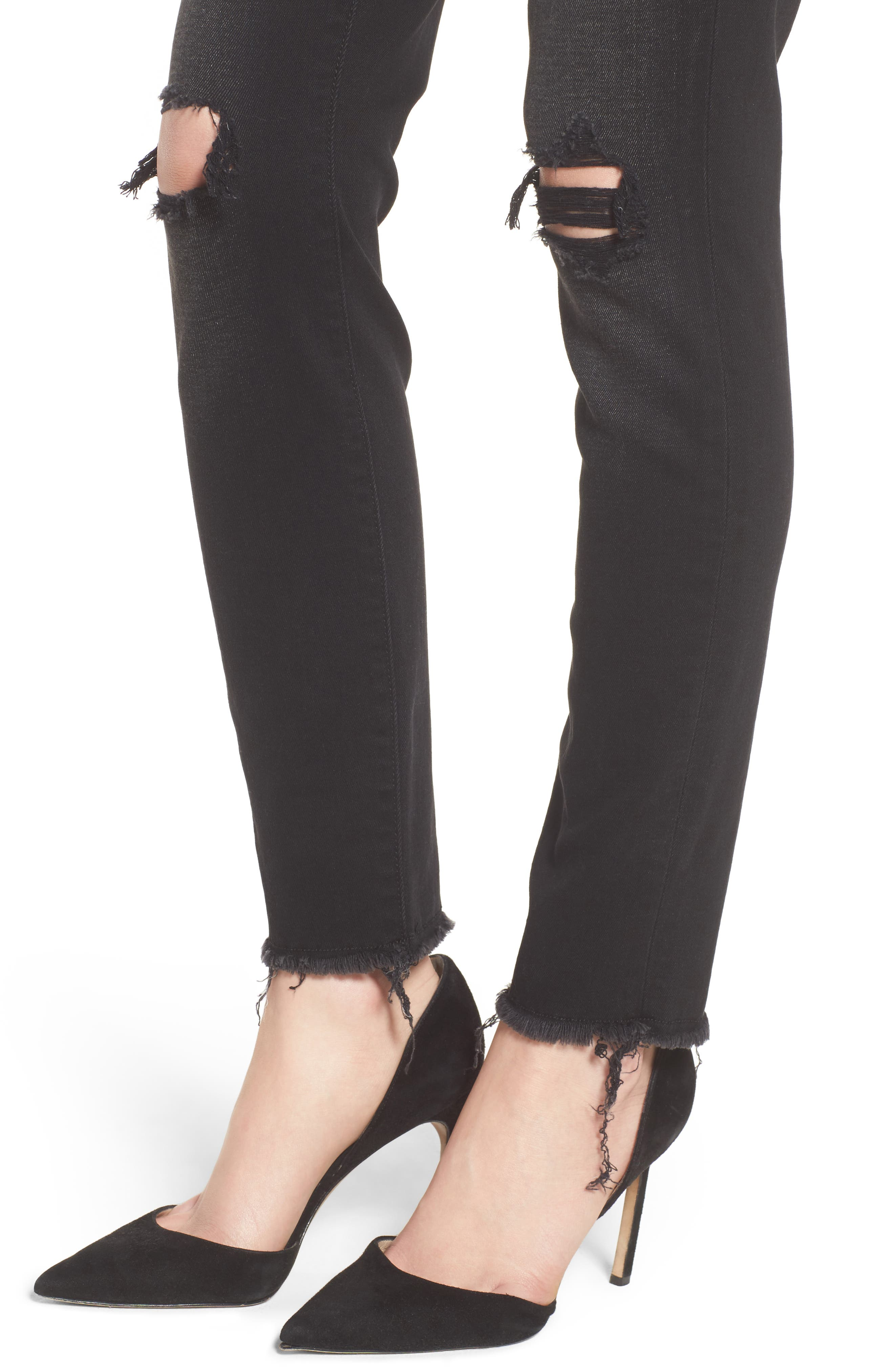 Alternate Image 4  - 7 For All Mankind® Aubrey High Waist Skinny Jeans (Aged Onyx 3)
