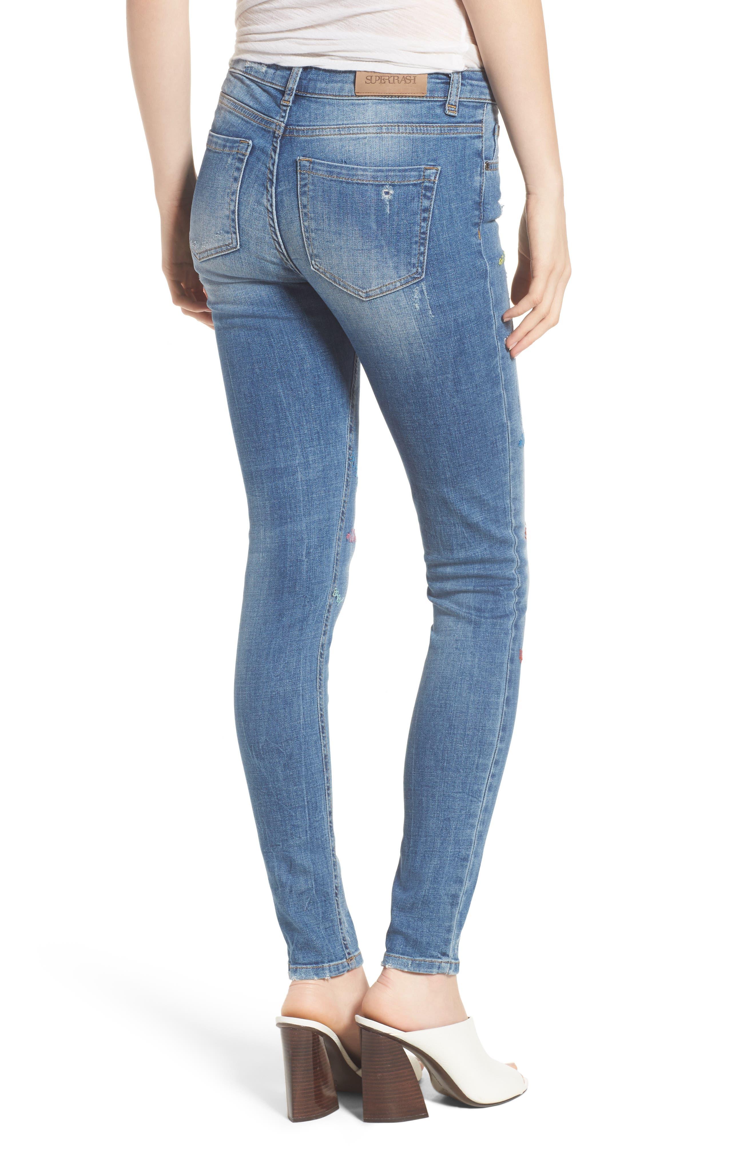Paradise High Waist Skinny Jeans,                             Alternate thumbnail 2, color,                             Mid Blue