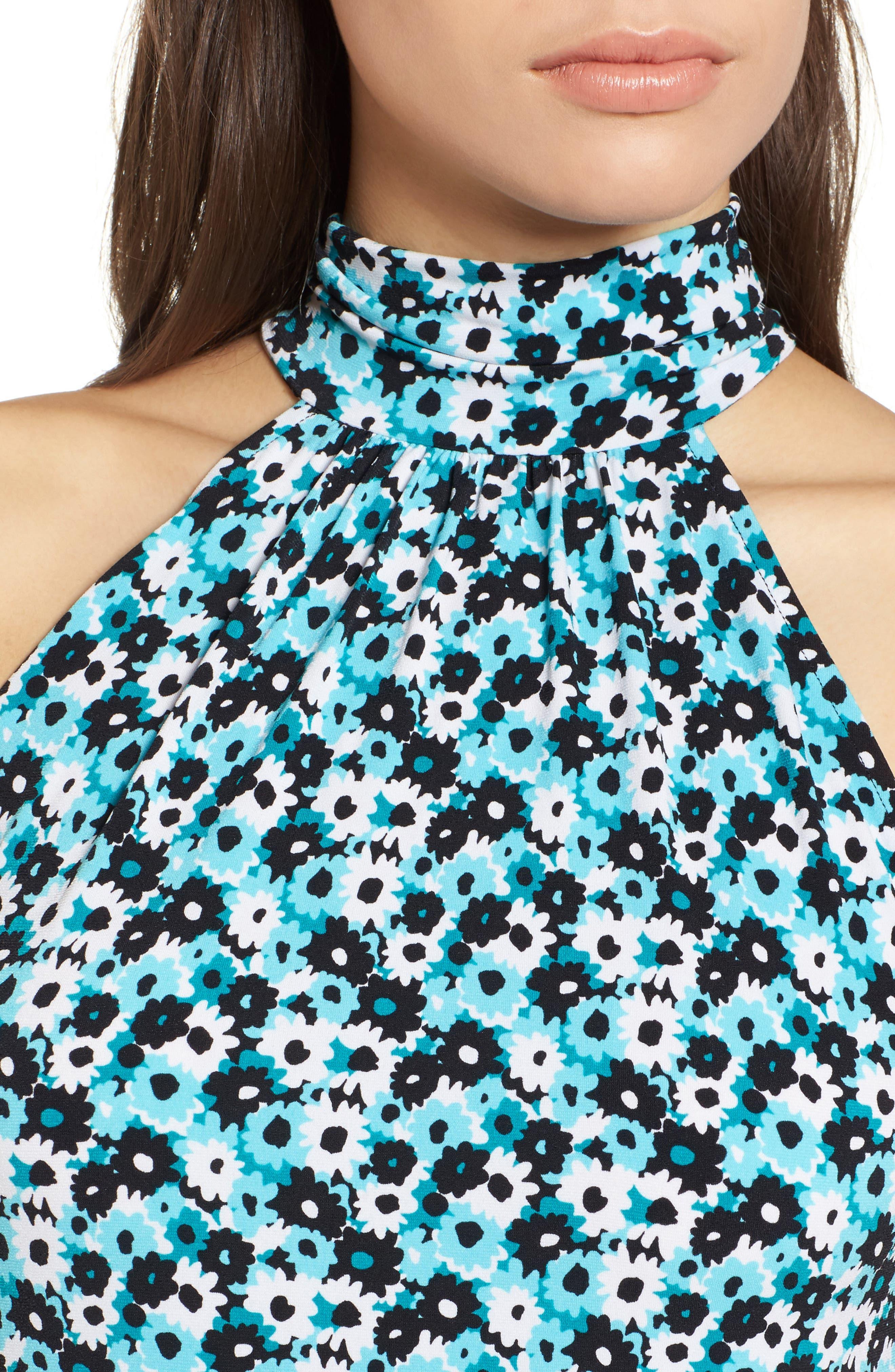 Carnation Sleeveless Dress,                             Alternate thumbnail 4, color,                             Tile Blue/ Black Multi