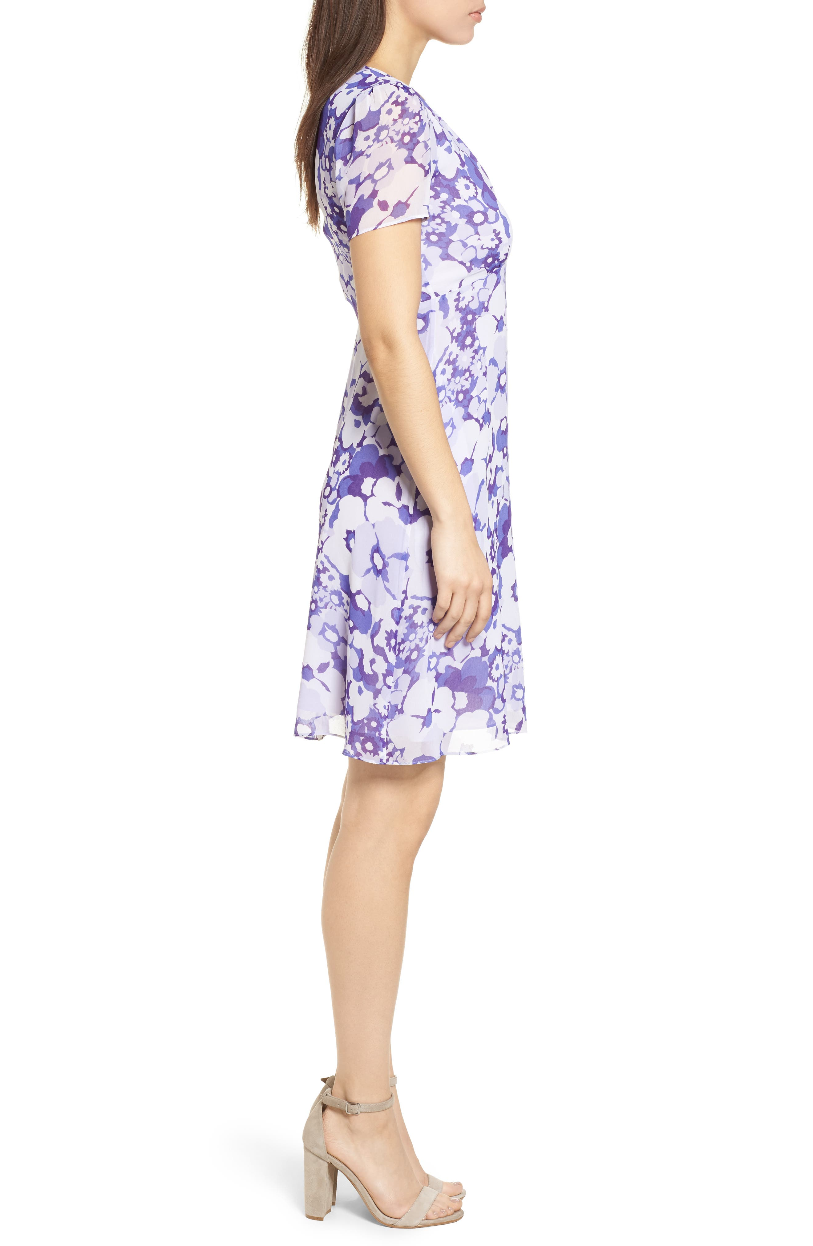 Springtime Floral Dress,                             Alternate thumbnail 3, color,                             Amethyst/ Light Quartz Multi