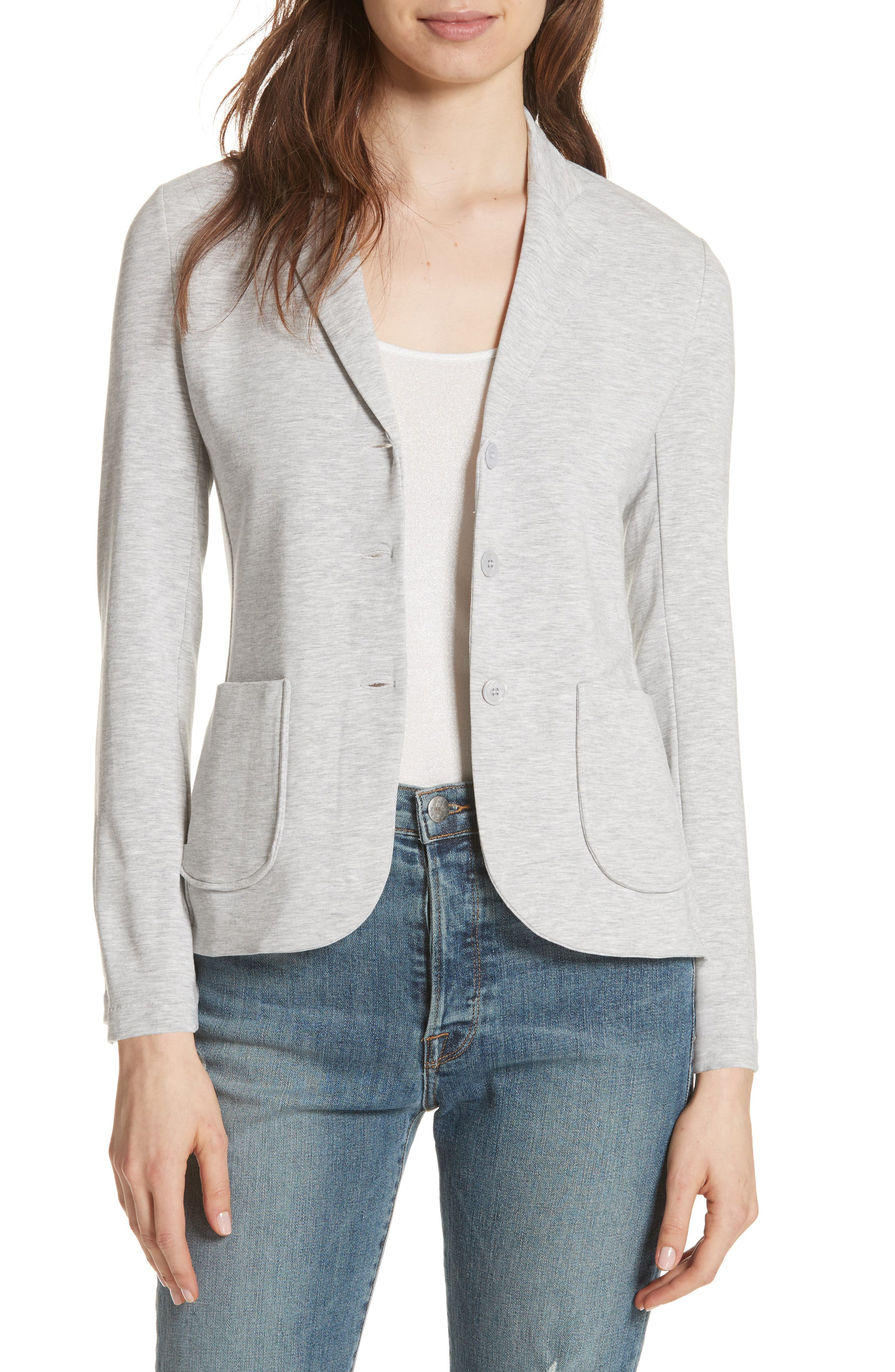 French Terry Pocket Blazer,                         Main,                         color, 037-Nacre Chine