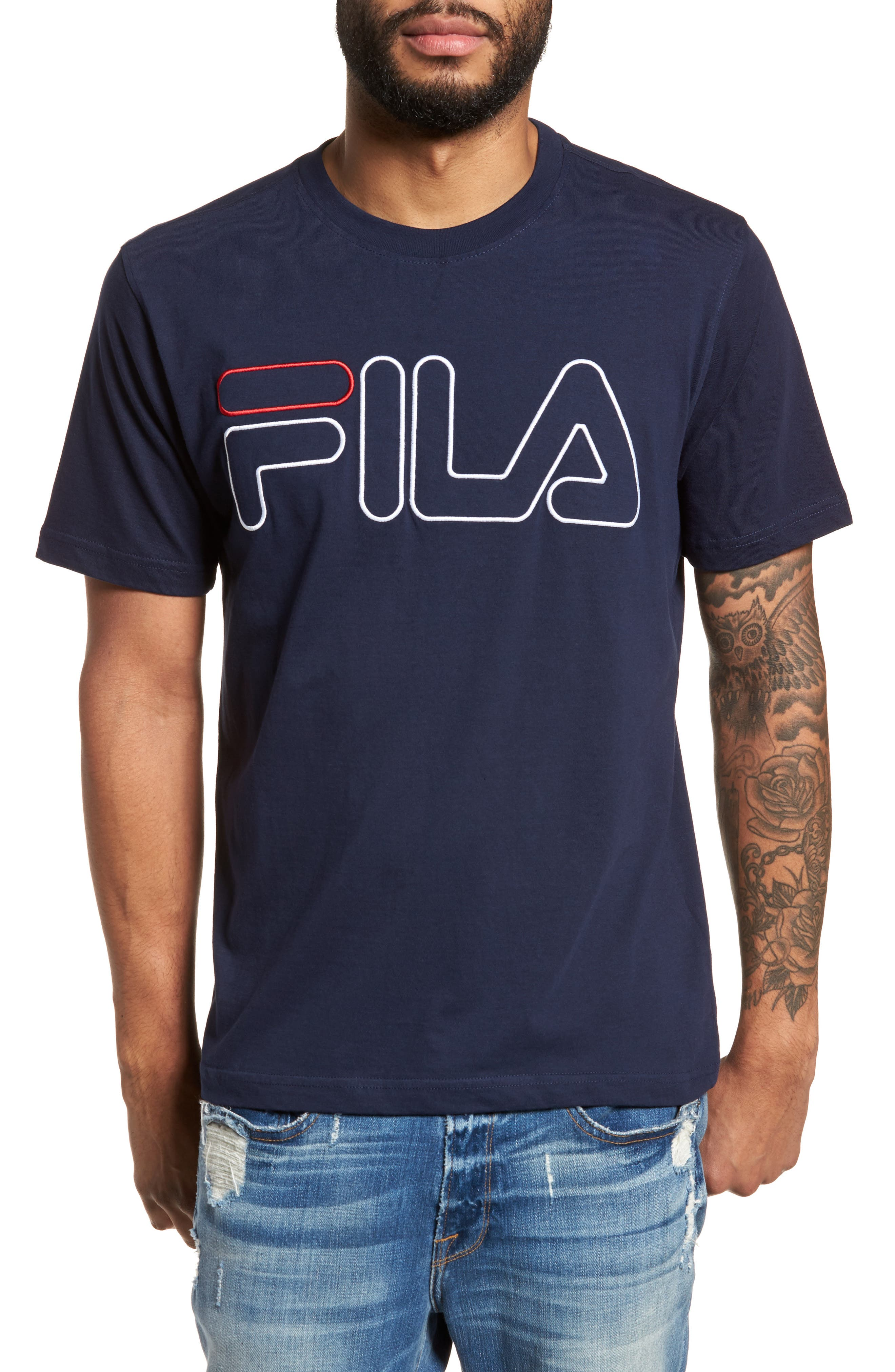 Logo T-Shirt,                         Main,                         color, Navy/ White/ Chinese Red