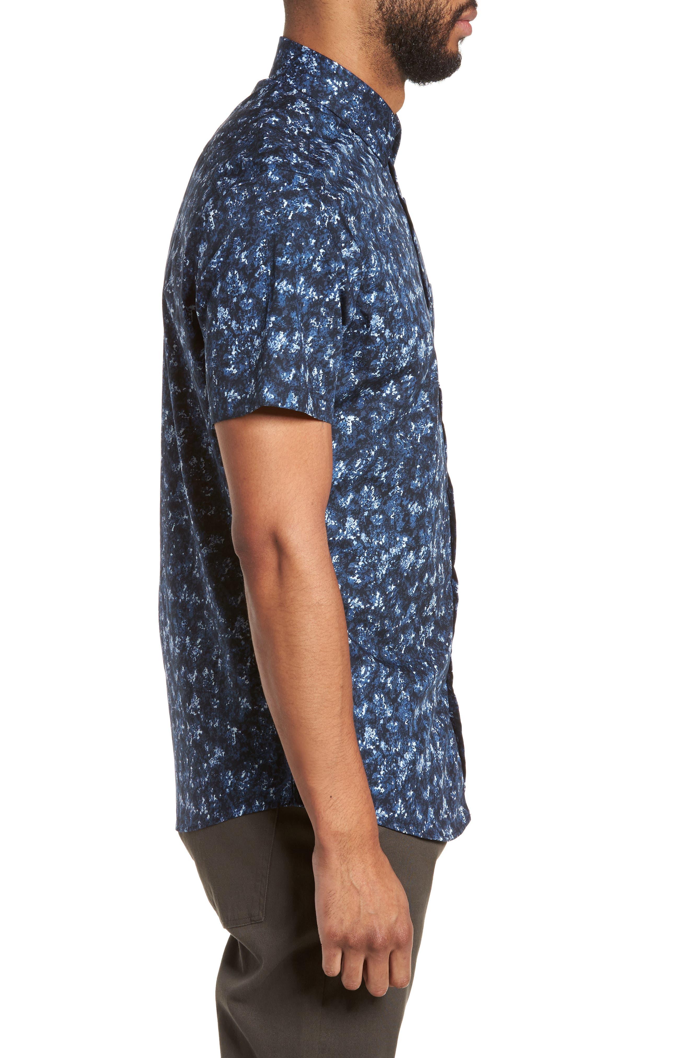 Print Sport Shirt,                             Alternate thumbnail 4, color,                             Blue Navy Crinkle