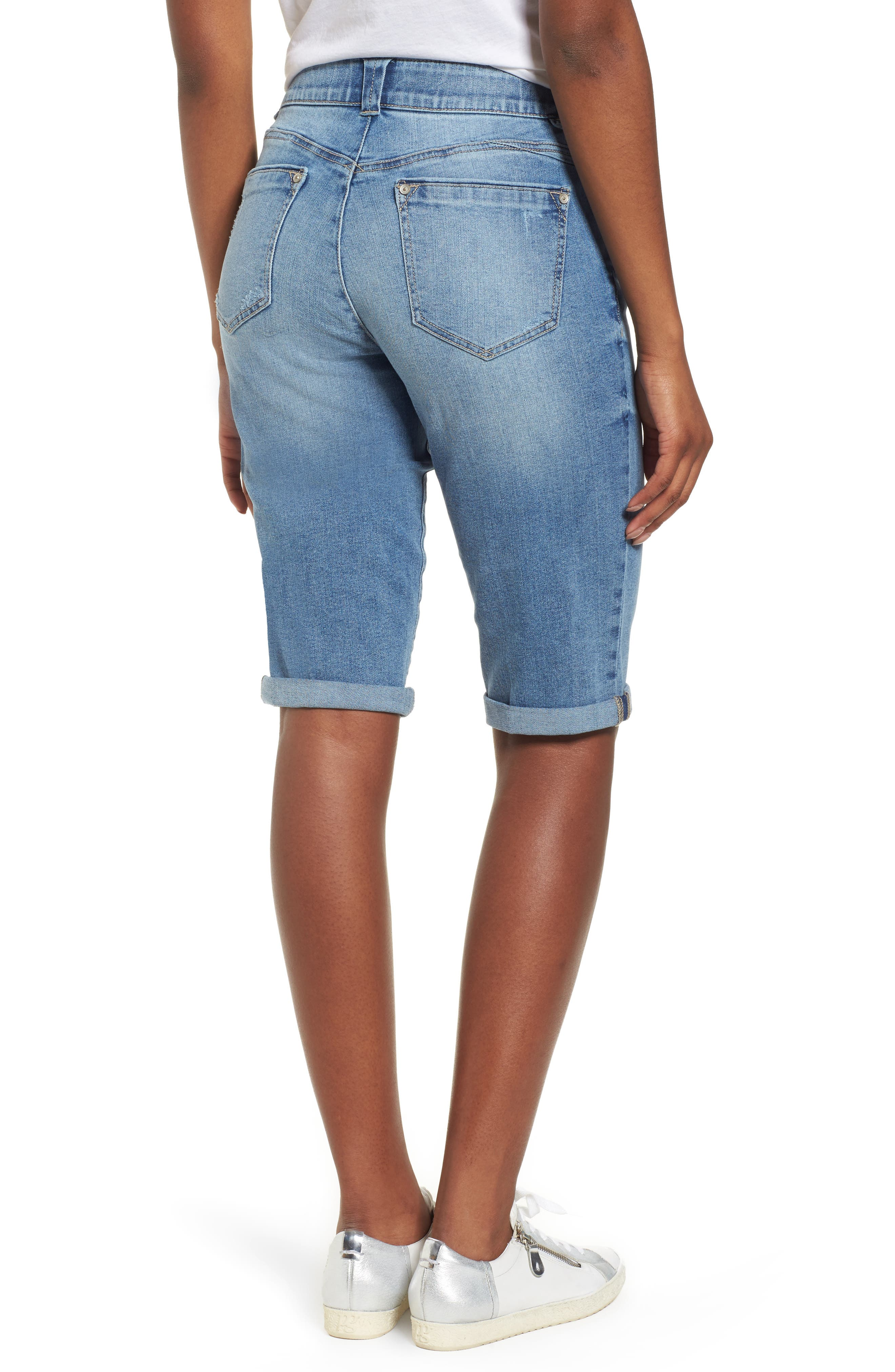 Ab-solution Cuffed Denim Shorts,                             Alternate thumbnail 2, color,                             Light Blue