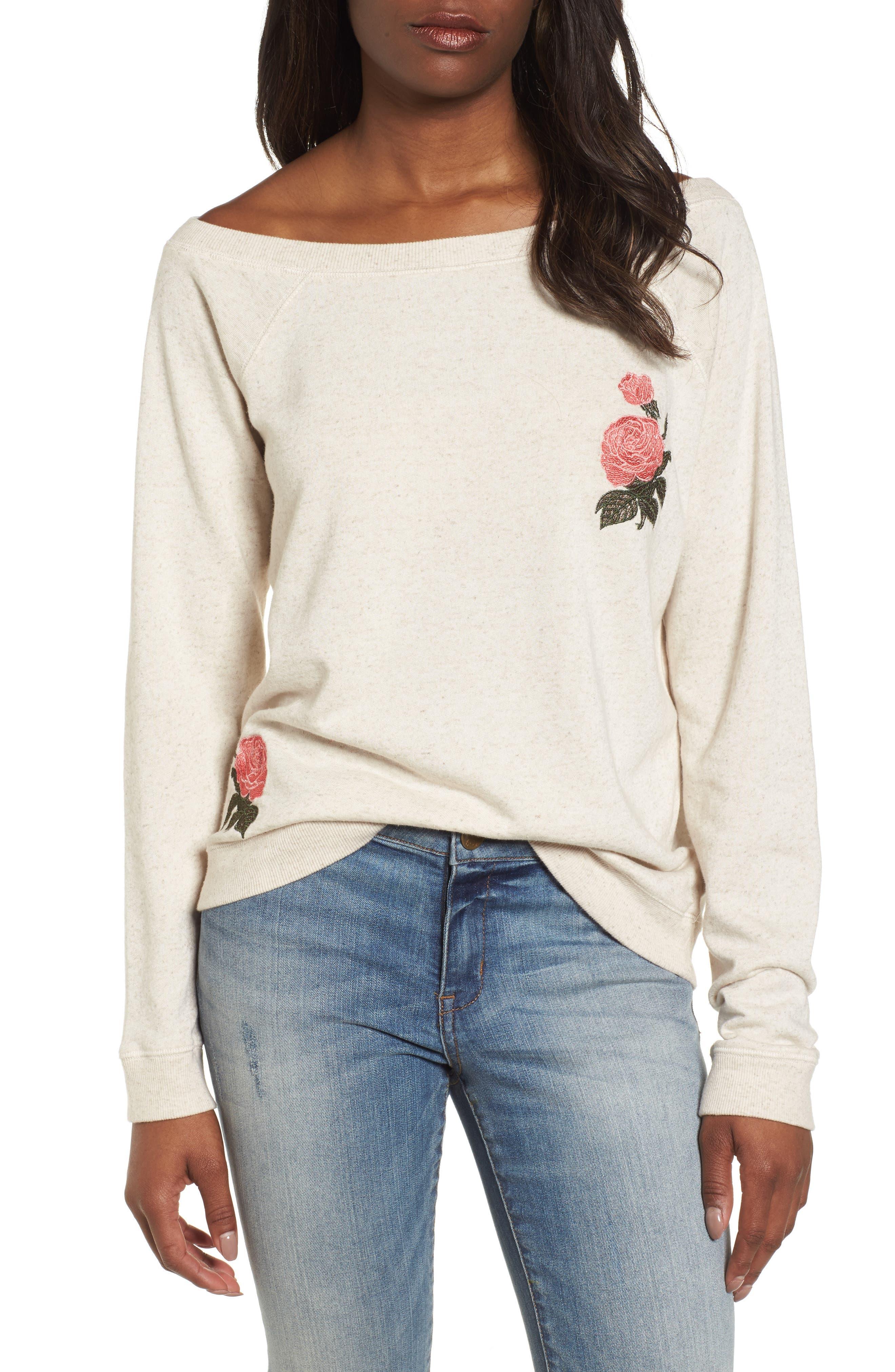 Embroidered Rose Sweatshirt,                             Main thumbnail 1, color,                             Natural Multi