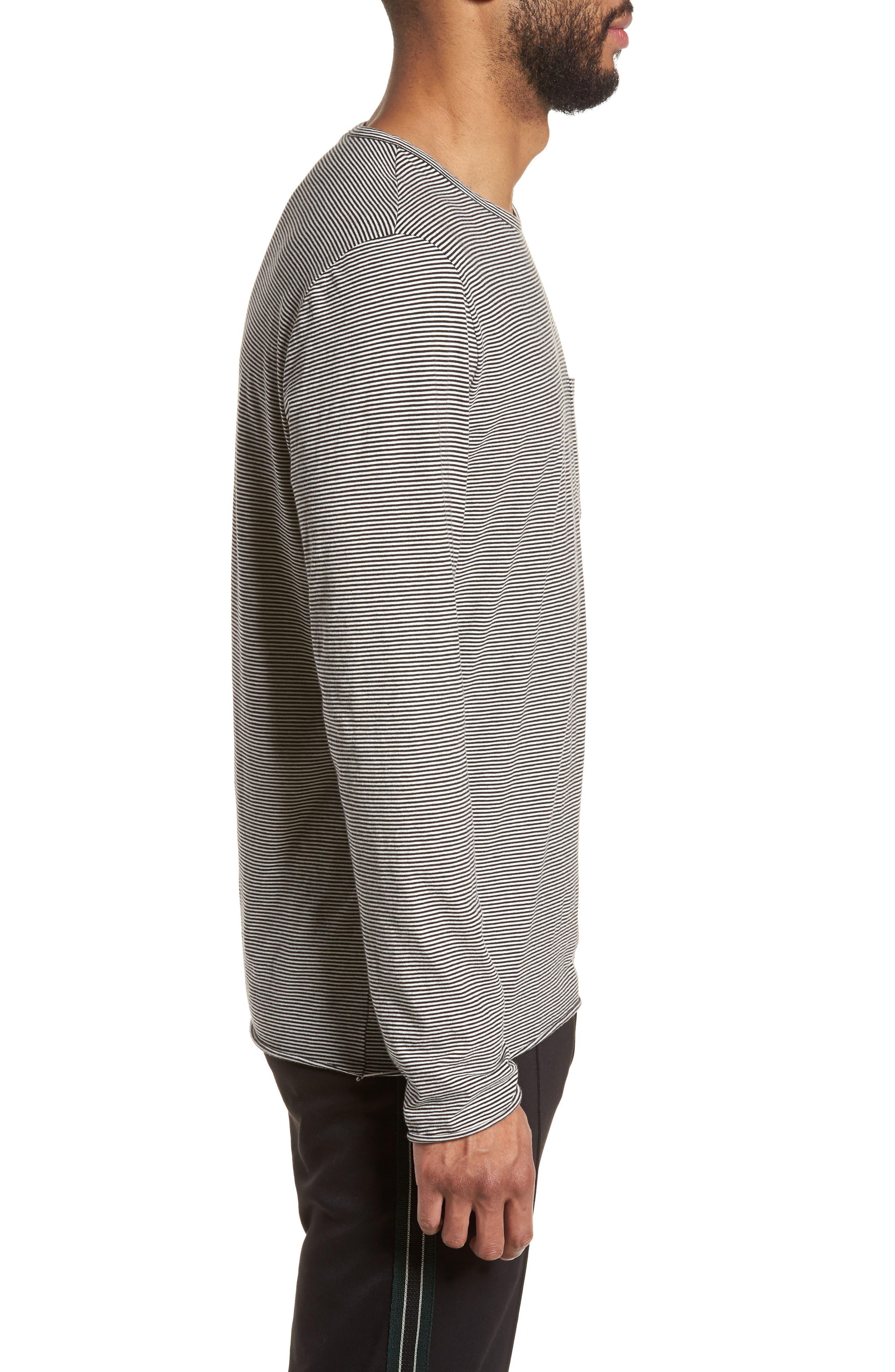 Feeder Stripe Long Sleeve Pocket T-Shirt,                             Alternate thumbnail 3, color,                             Black/ Leche