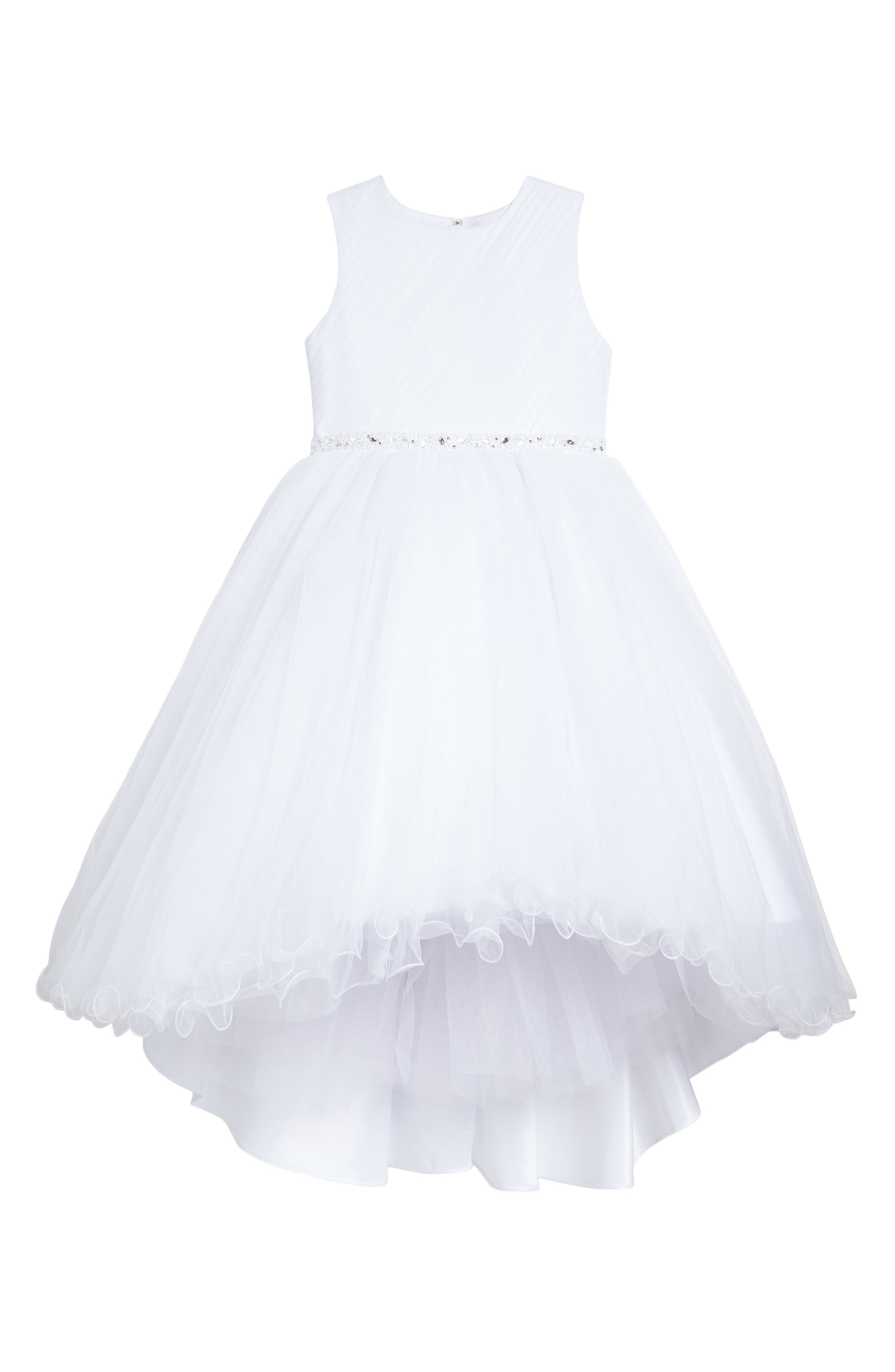 Sleeveless Tulle First Communion Dress,                             Main thumbnail 1, color,                             White