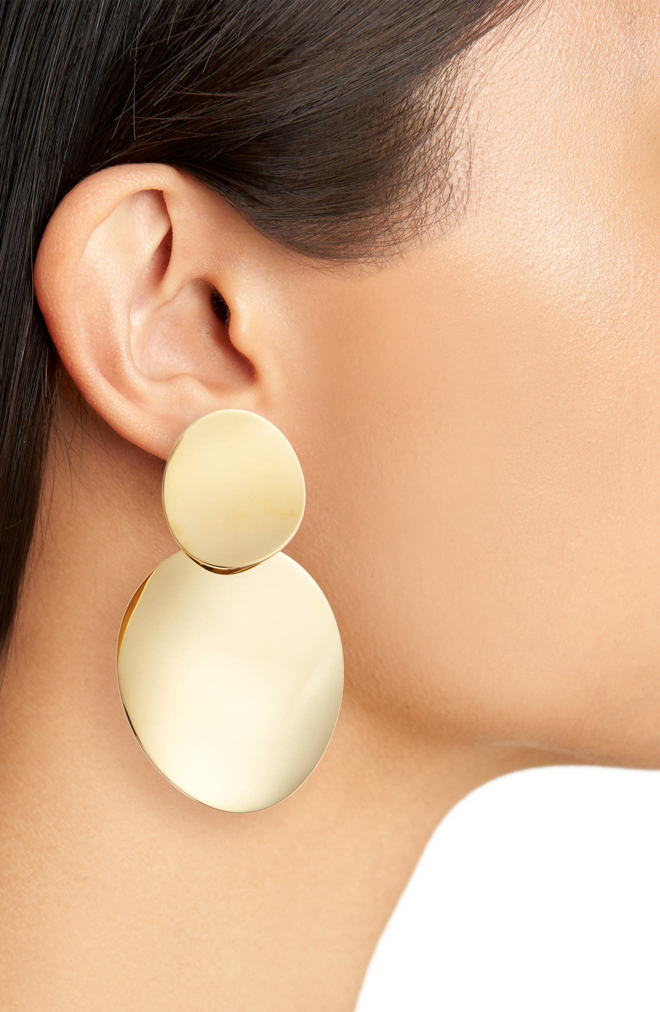 gold standard double drop earrings,                             Alternate thumbnail 2, color,                             Gold