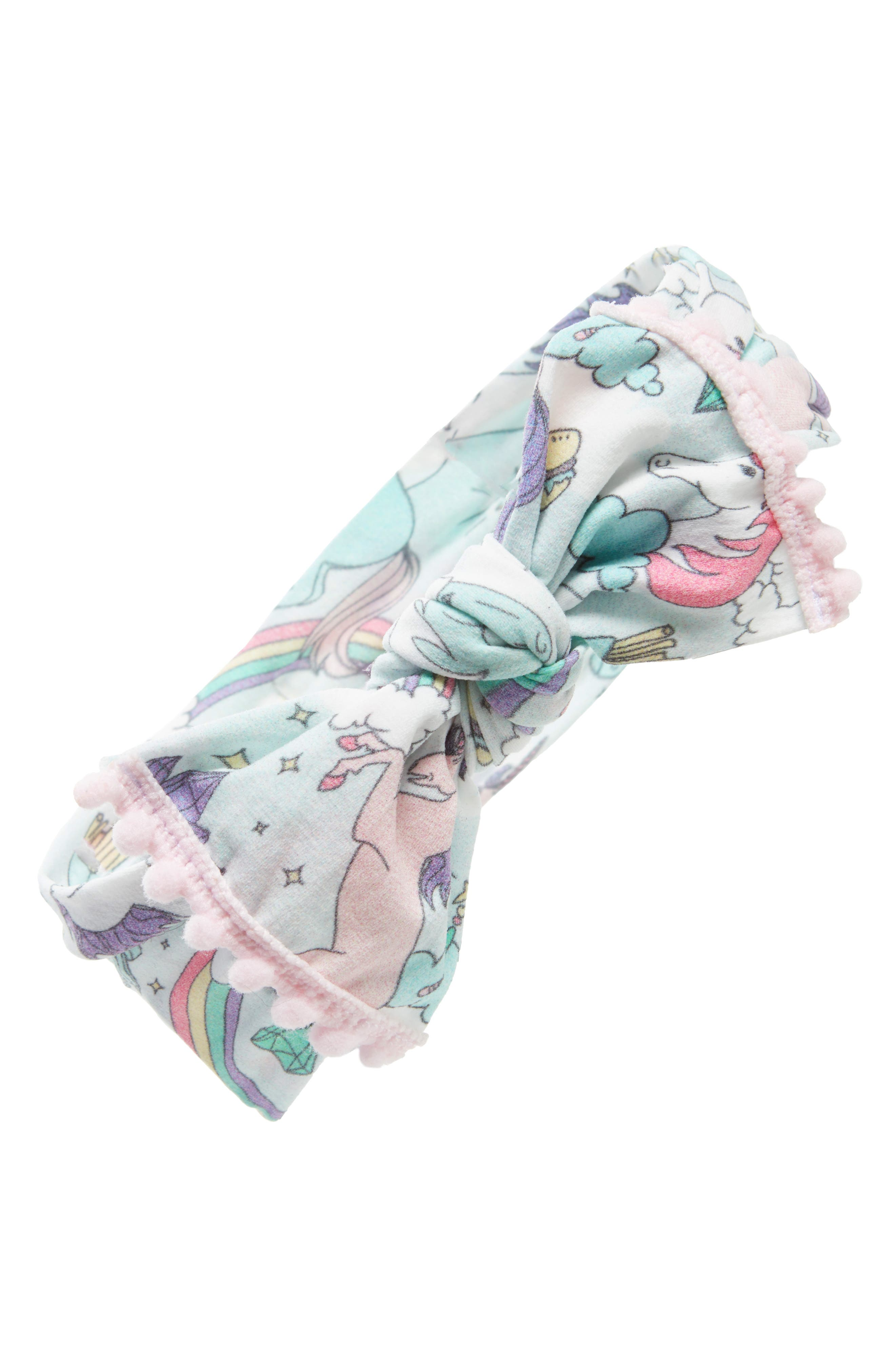 Main Image - Baby Bling Pompom Trim Print Knot Headband (Baby Girls)