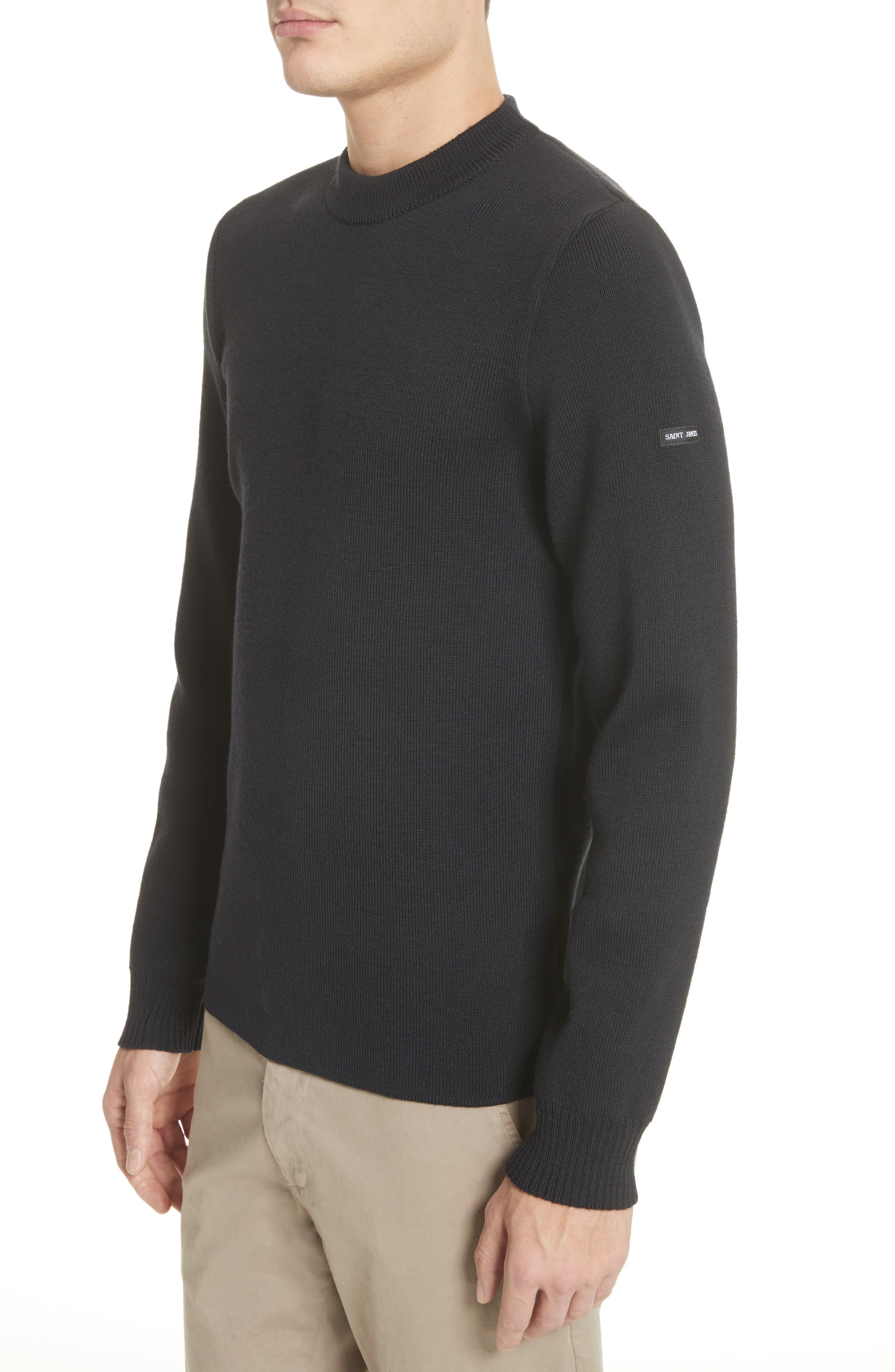 Men's Water Repellent Crewneck Sweater,                             Alternate thumbnail 4, color,                             Navy