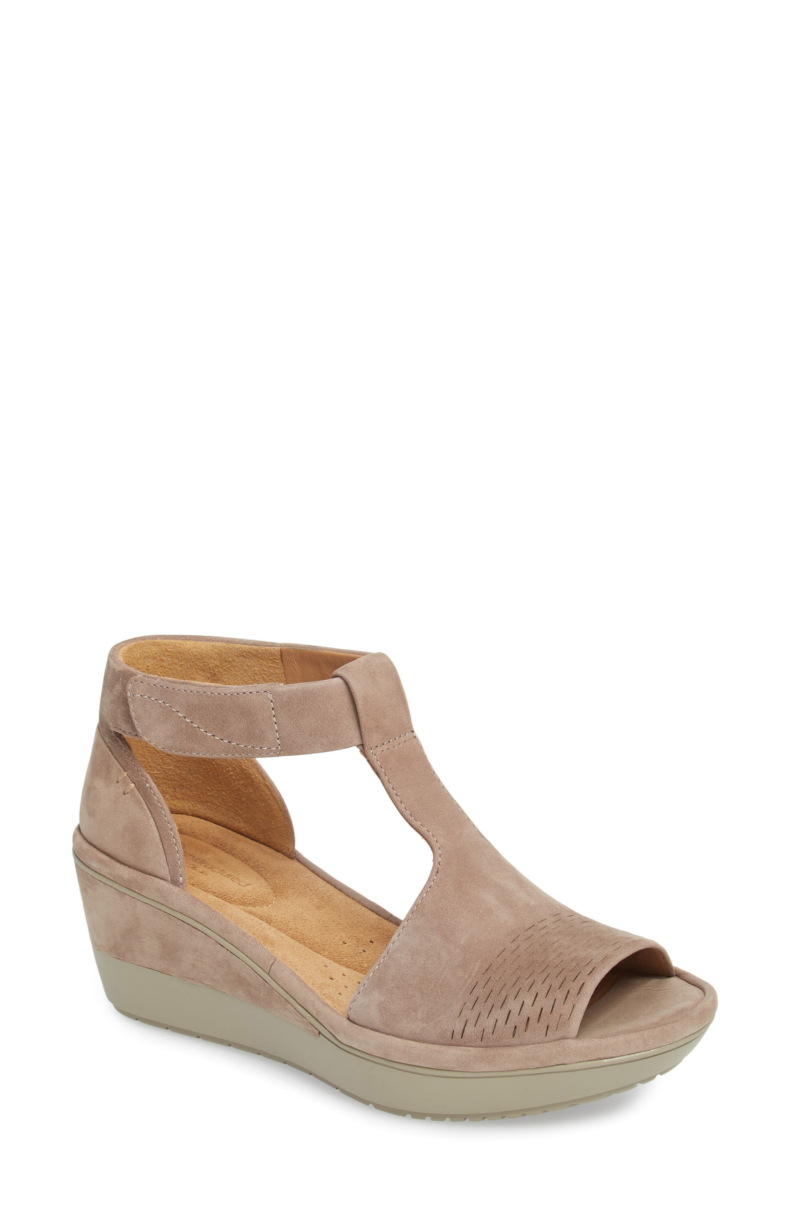 Wynnmere Avah T-Strap Wedge Sandal,                             Main thumbnail 1, color,                             Warm Grey Nubuck