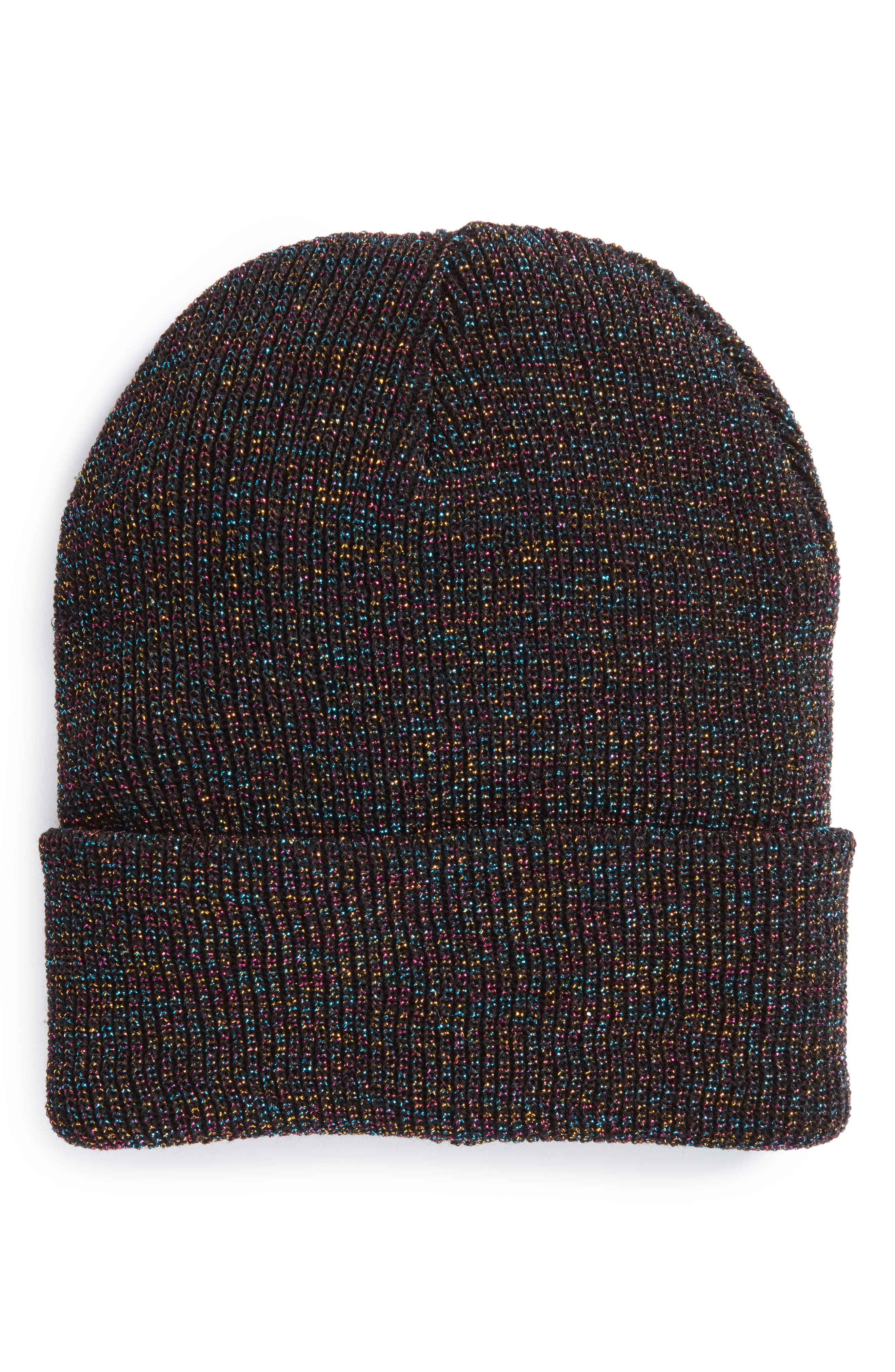 Metallic Slouchy Beanie,                         Main,                         color, Black Multi