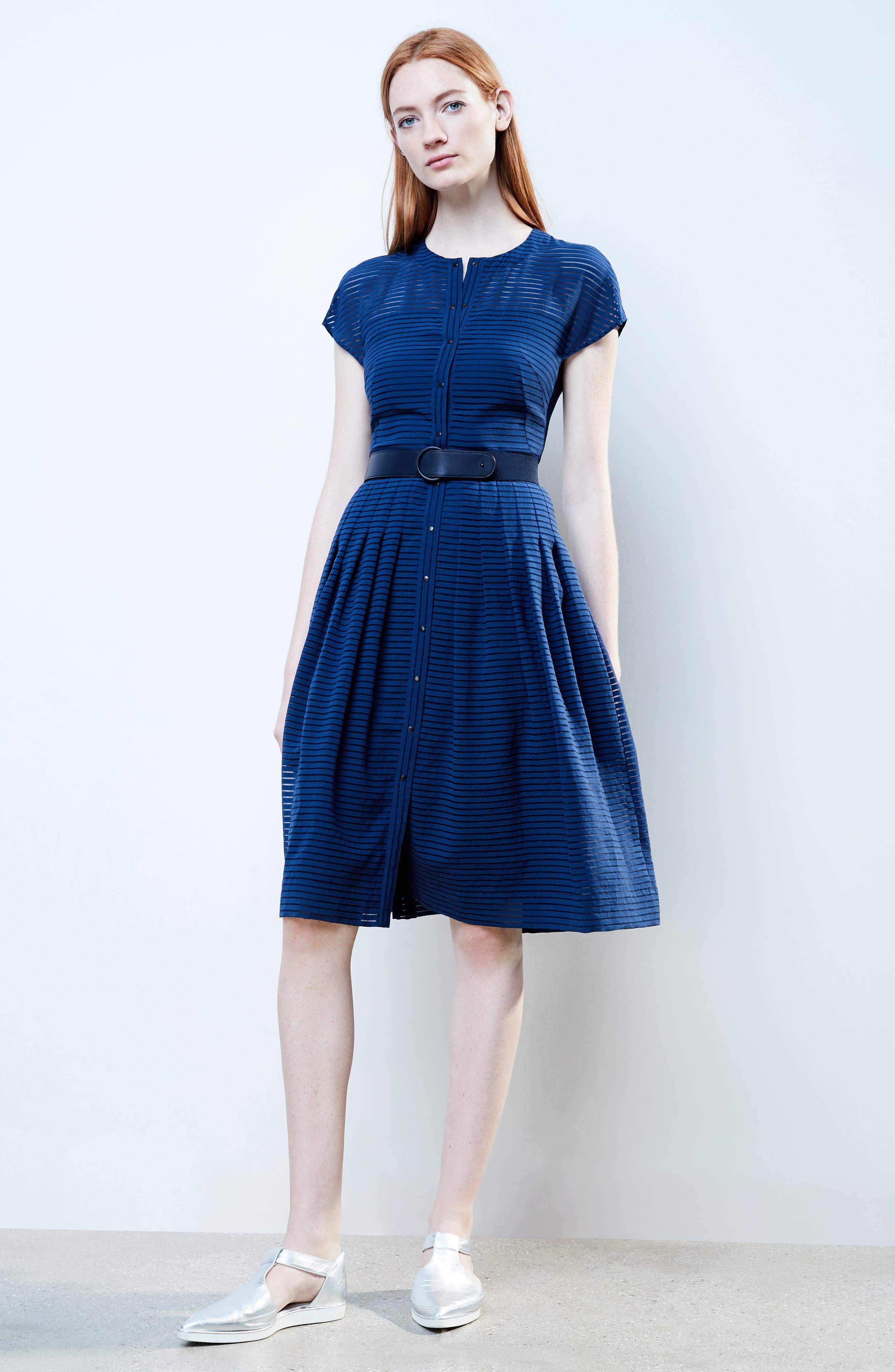 Illusion Stripe Shirtdress,                             Alternate thumbnail 2, color,                             Blue Denim