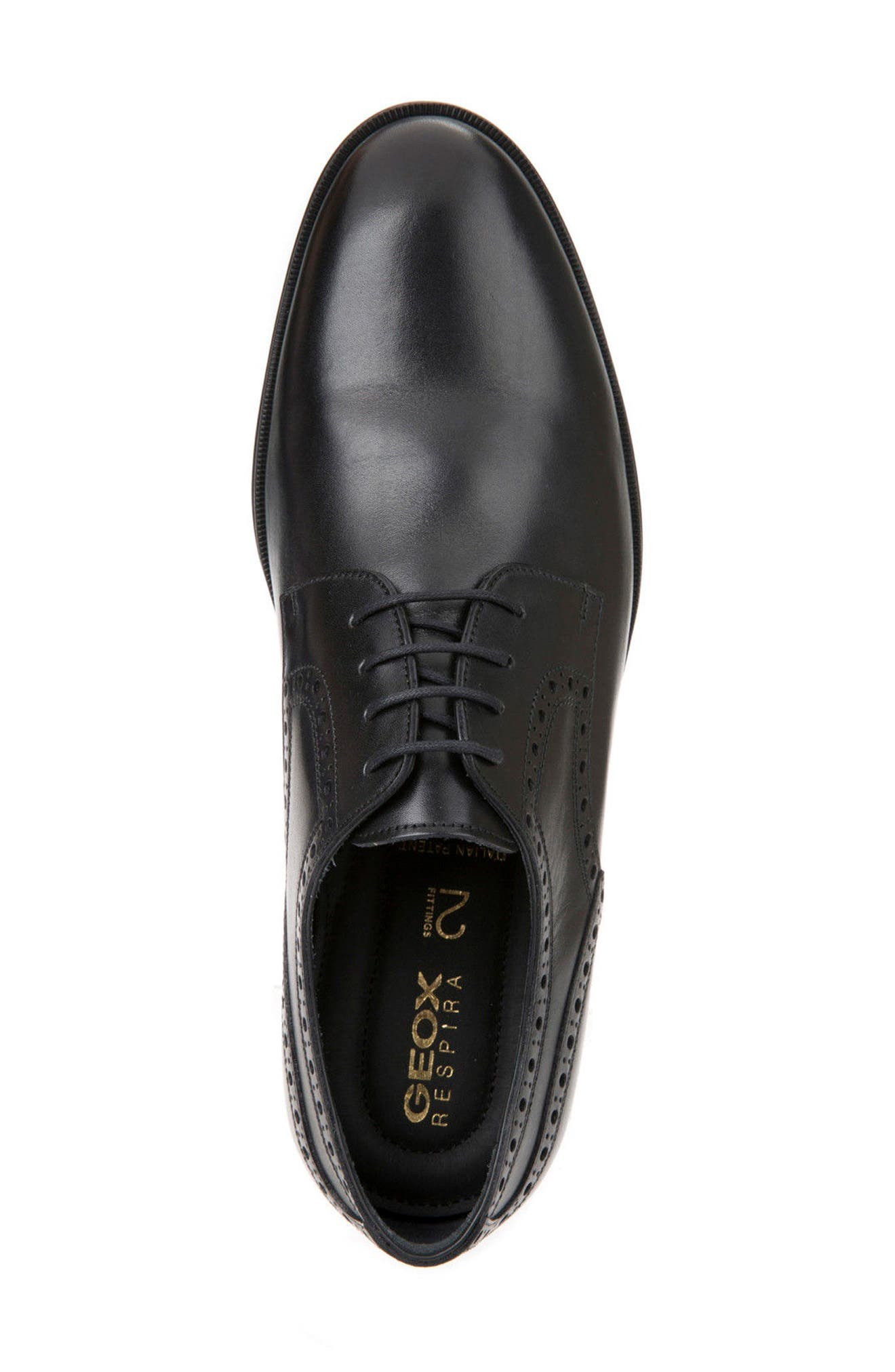 Hilstone 3 Plain Toe Derby,                             Alternate thumbnail 5, color,                             Black Leather