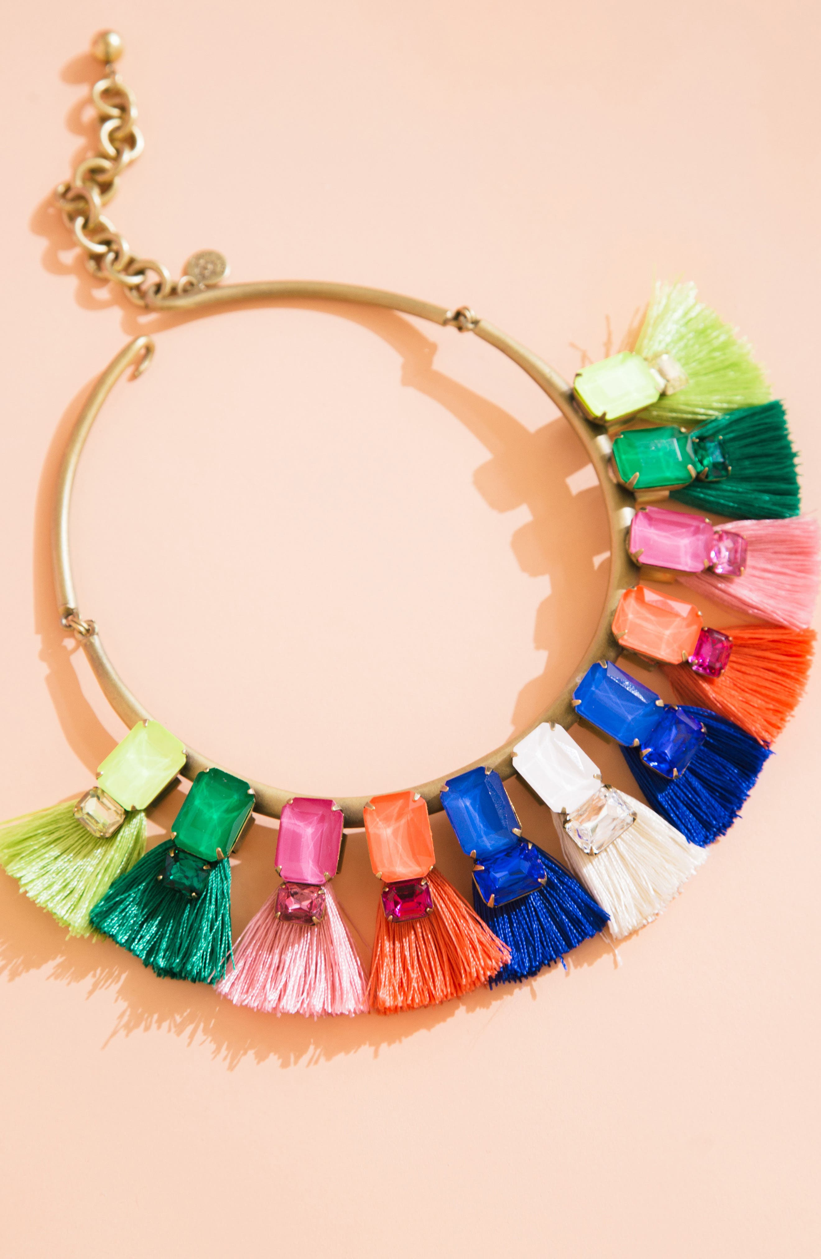 Scarlet Tassel Collar Necklace,                             Alternate thumbnail 5, color,                             Pink Multi