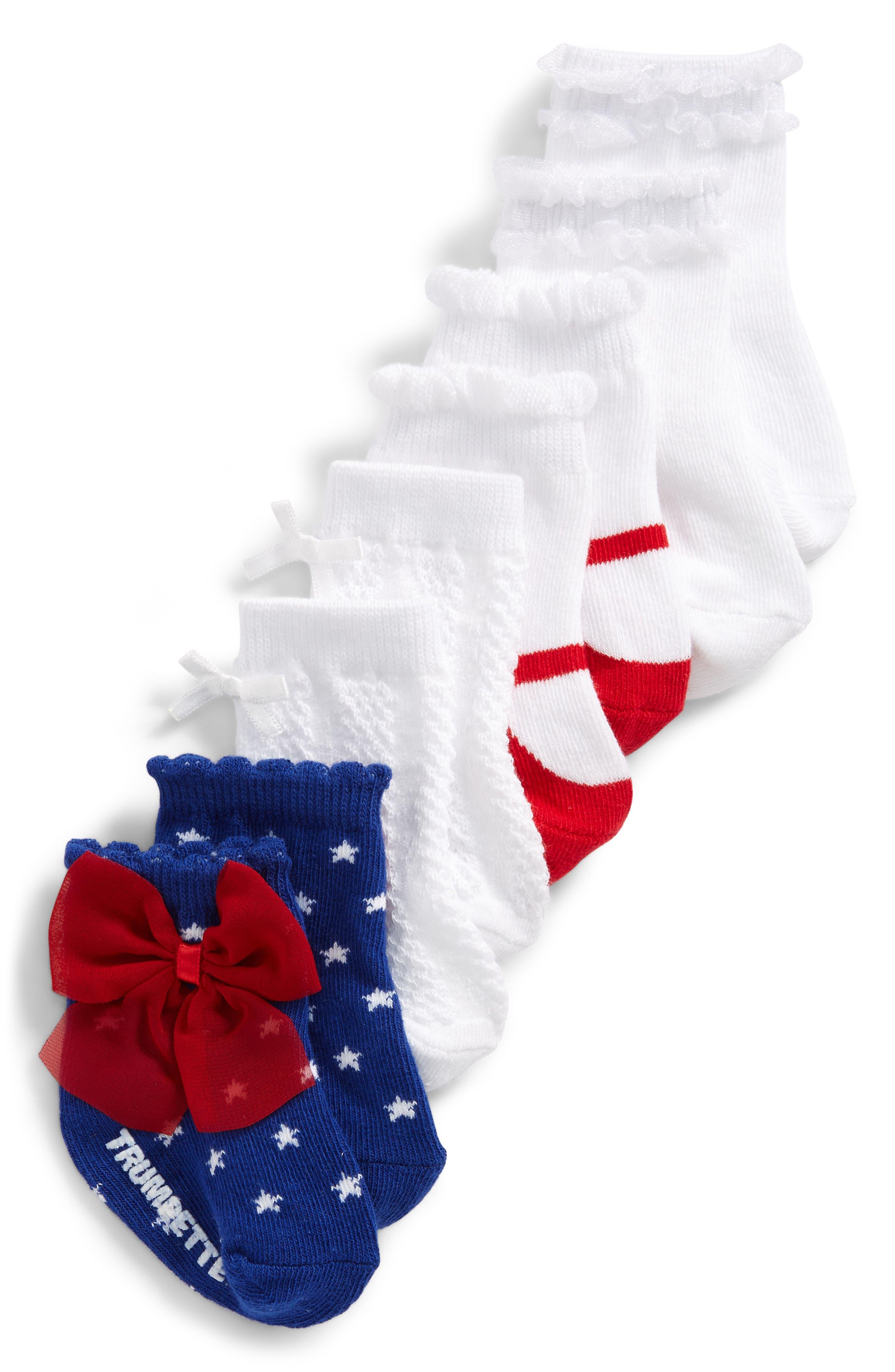 Alternate Image 1 Selected - Trumpette Jackie 4-Pack Socks (Baby Girls)