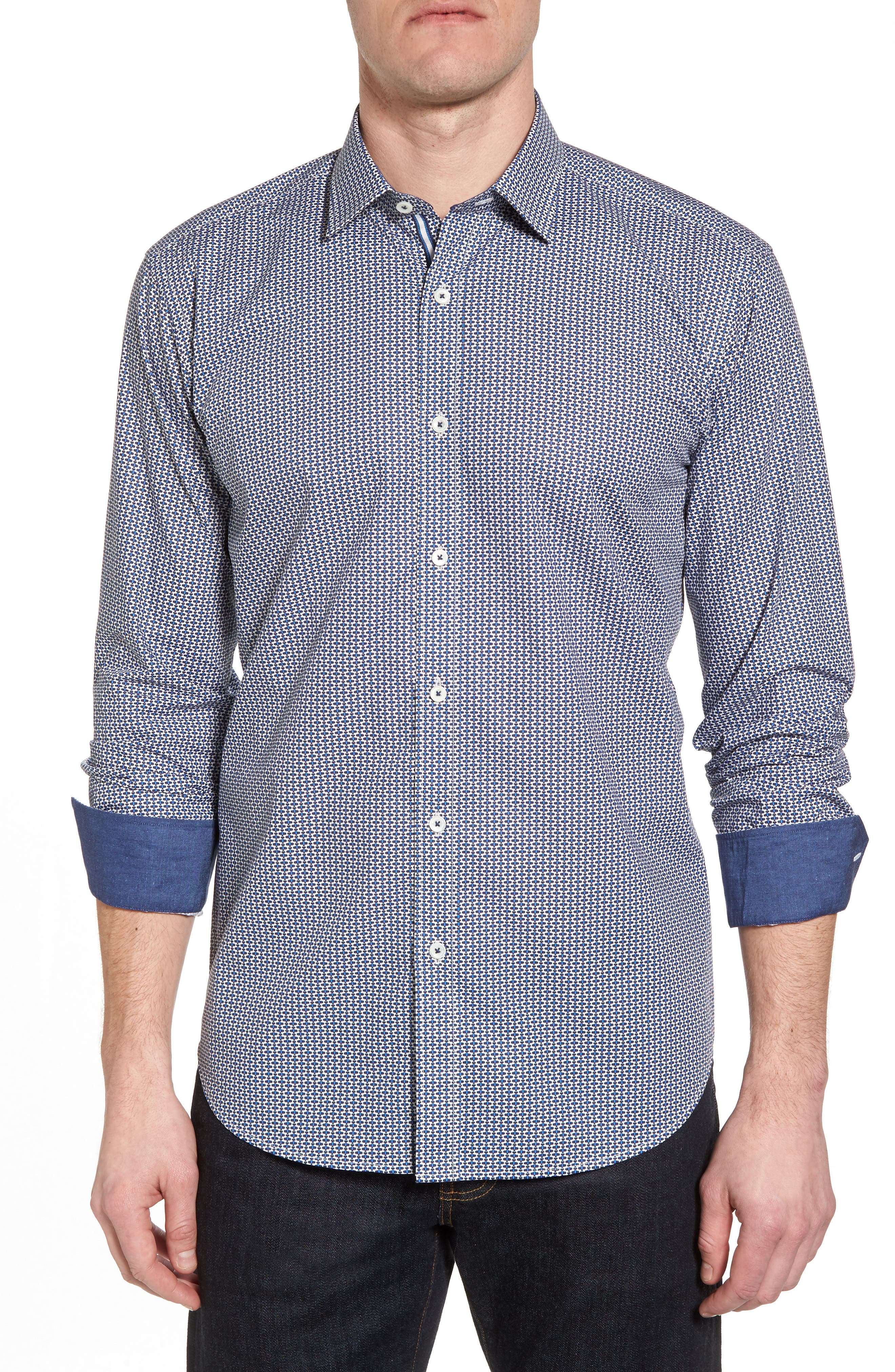 Shaped Fit Print Sport Shirt,                         Main,                         color, Teal