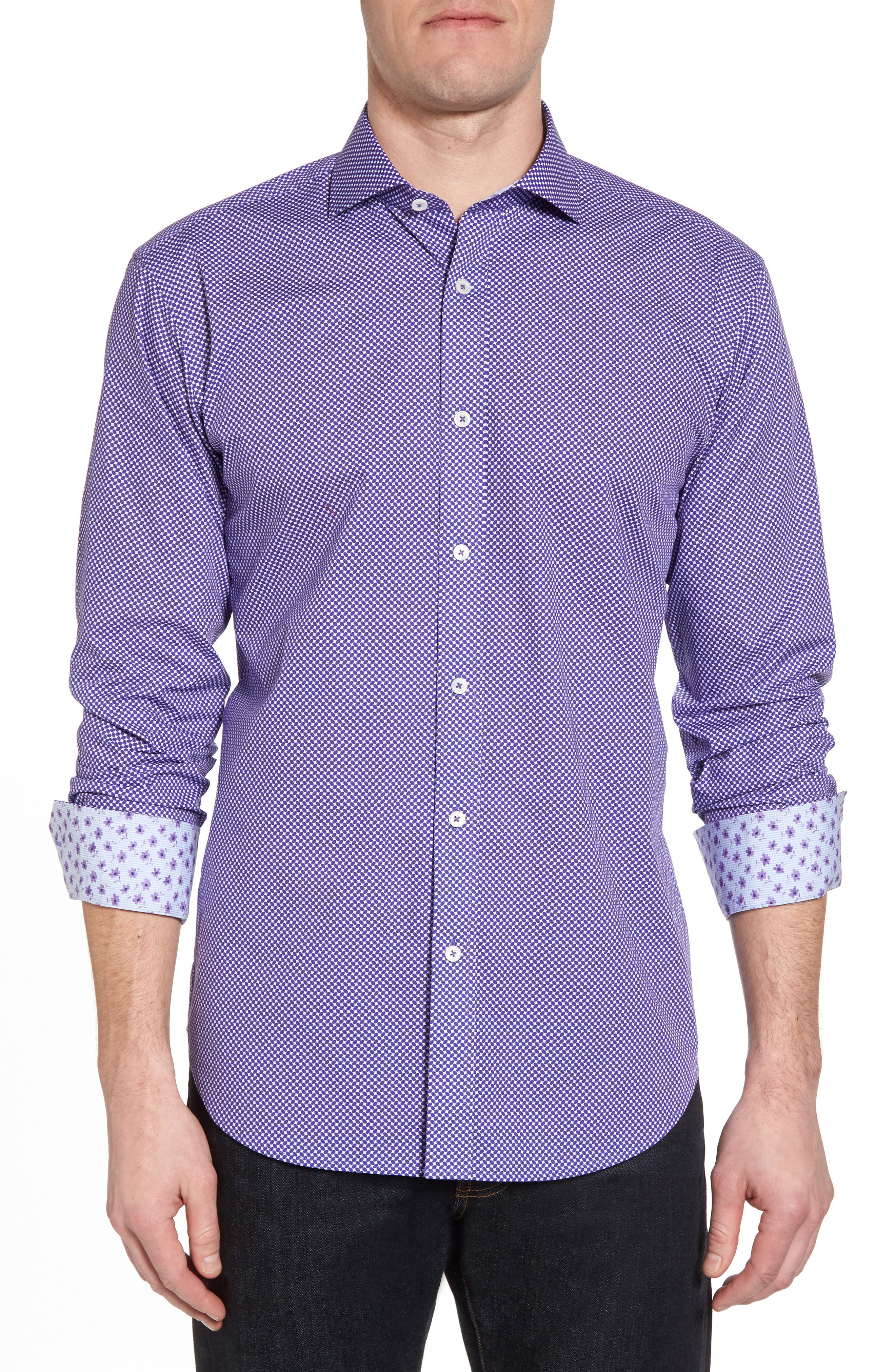 Slim Fit Geo Print Sport Shirt,                             Main thumbnail 1, color,                             Amethyst