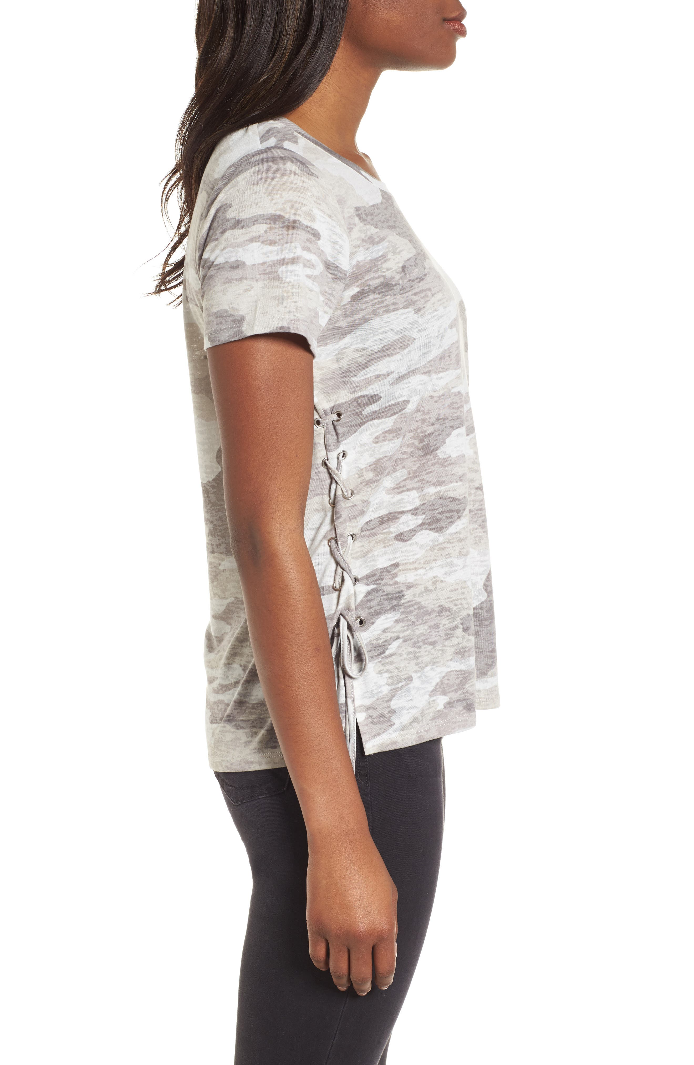 Avenue Side Lace-Up Camo Tee,                             Alternate thumbnail 3, color,                             Midnight Fog