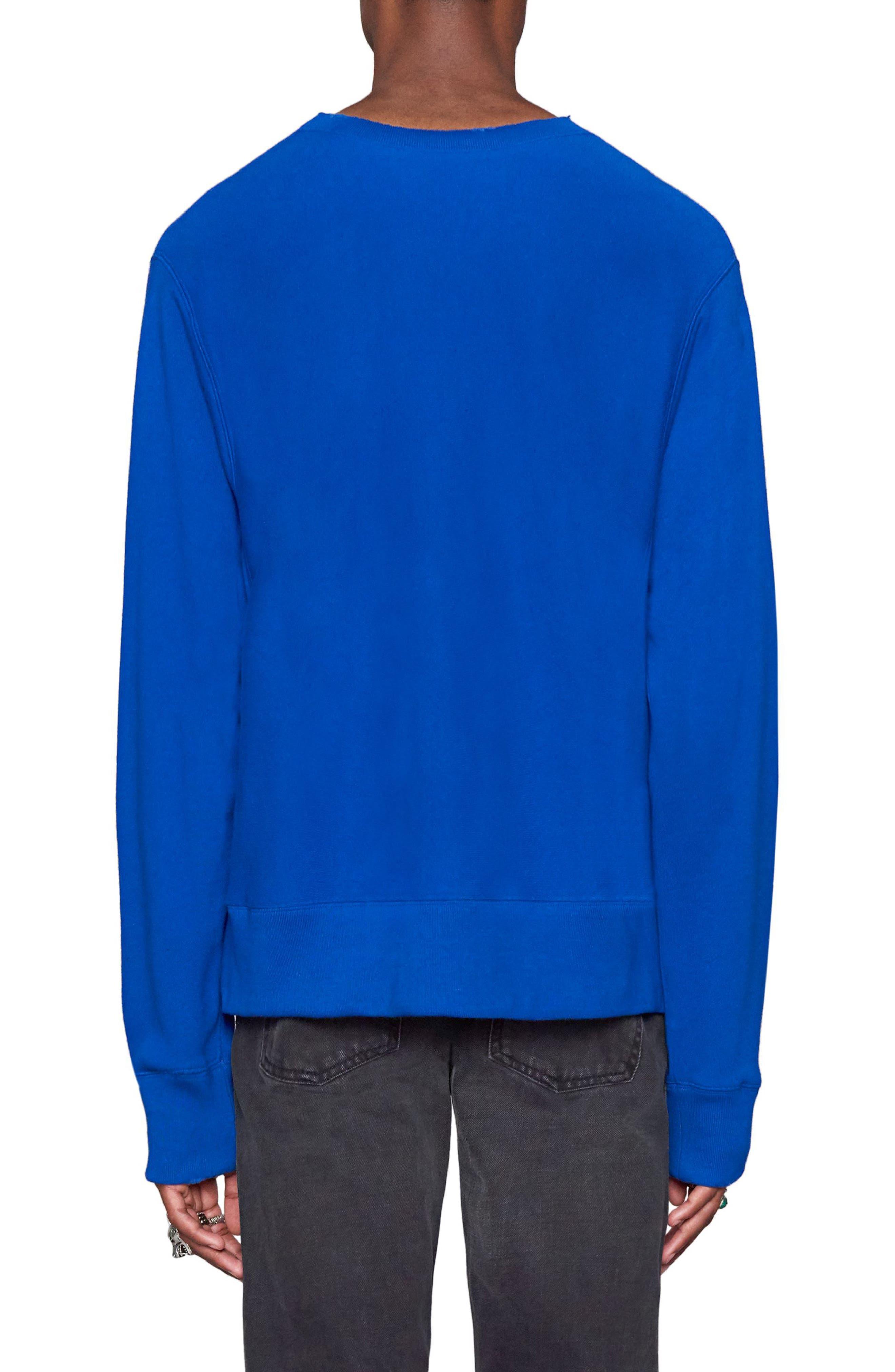 Snake Stamp Graphic Crewneck Sweatshirt,                             Alternate thumbnail 2, color,                             Electric Blue