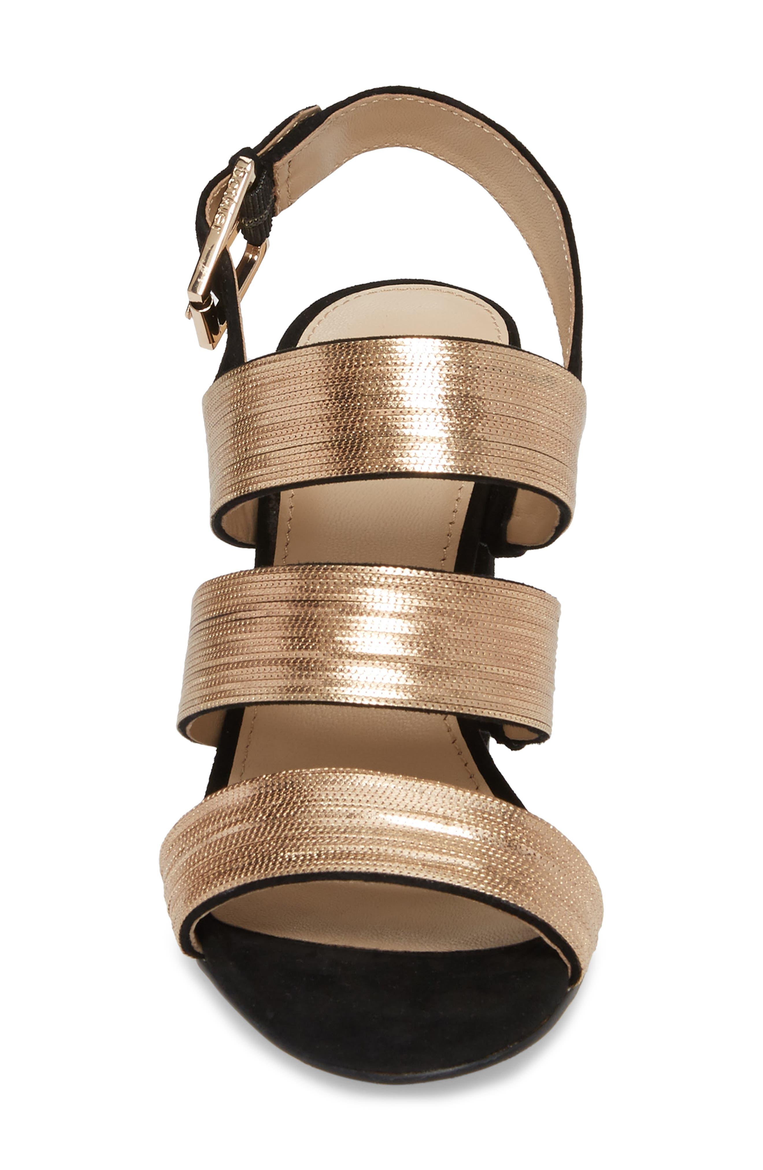 Genesa Chain Slingback Sandal,                             Alternate thumbnail 4, color,                             Black/ Gold Suede