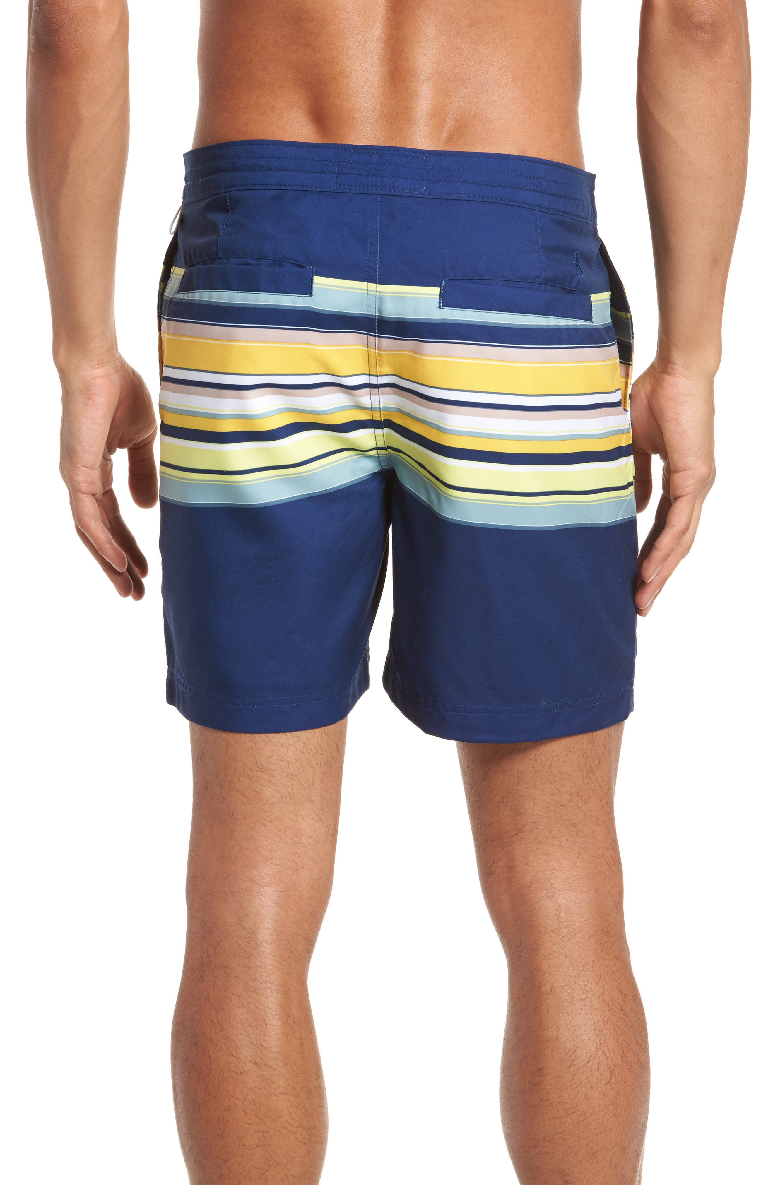 Stripe Fixed Volley Board Shorts,                             Alternate thumbnail 2, color,                             Blue Depths