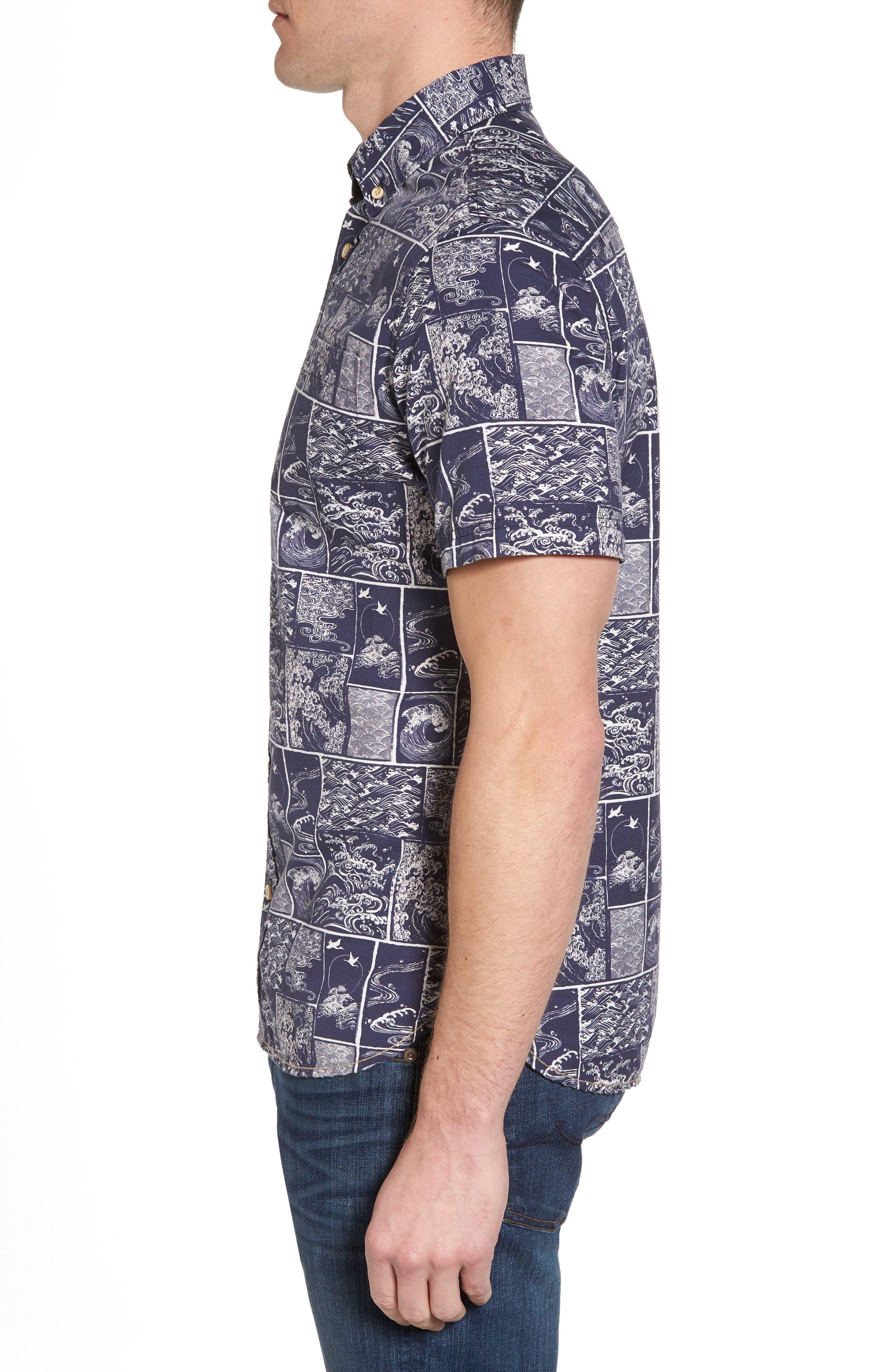 Wave Print Sport Shirt,                             Alternate thumbnail 3, color,                             Navy/ White