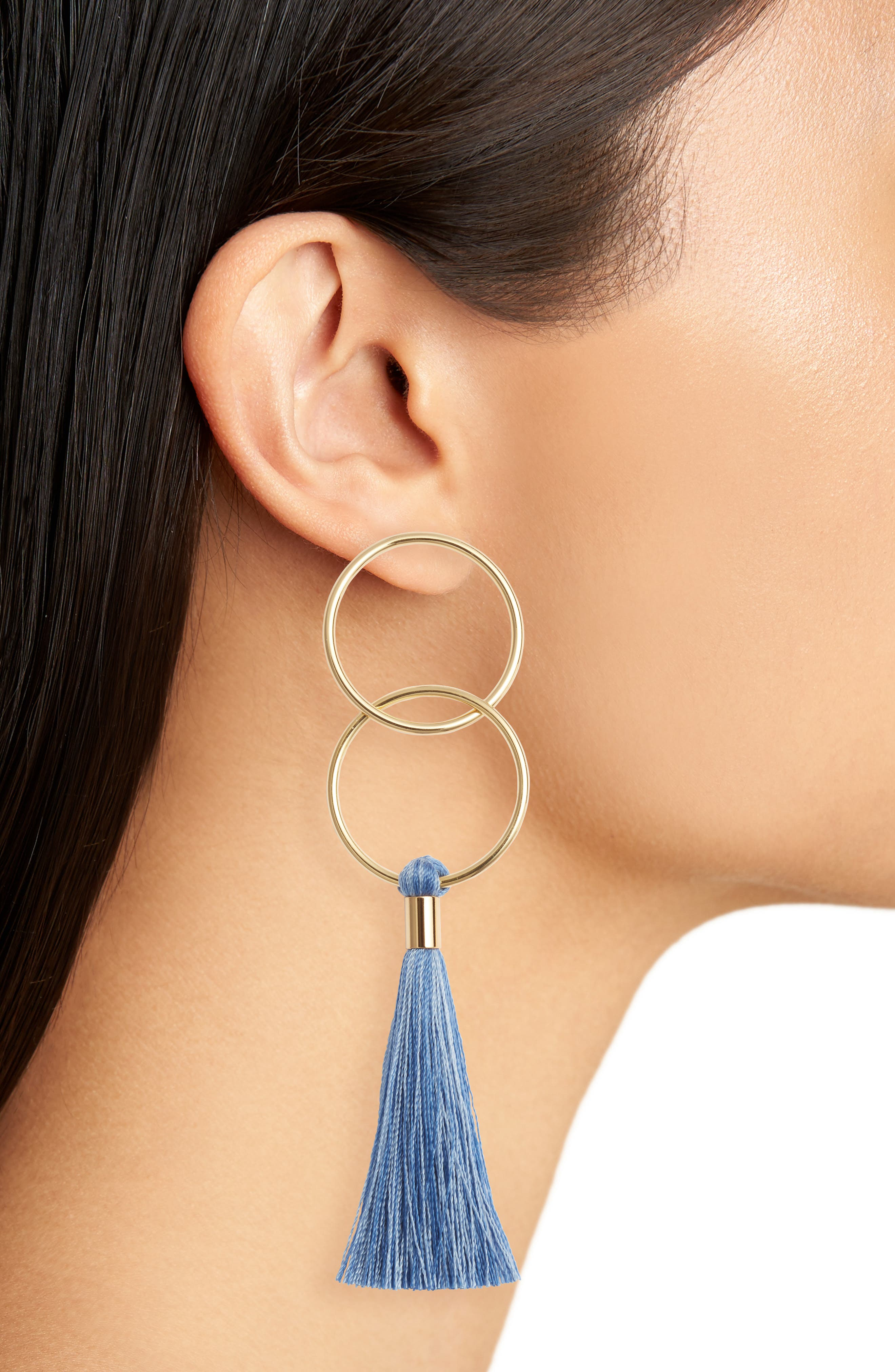 Carmen Tassel Earrings,                             Alternate thumbnail 4, color,                             Mixed Powder Blue/ Gold