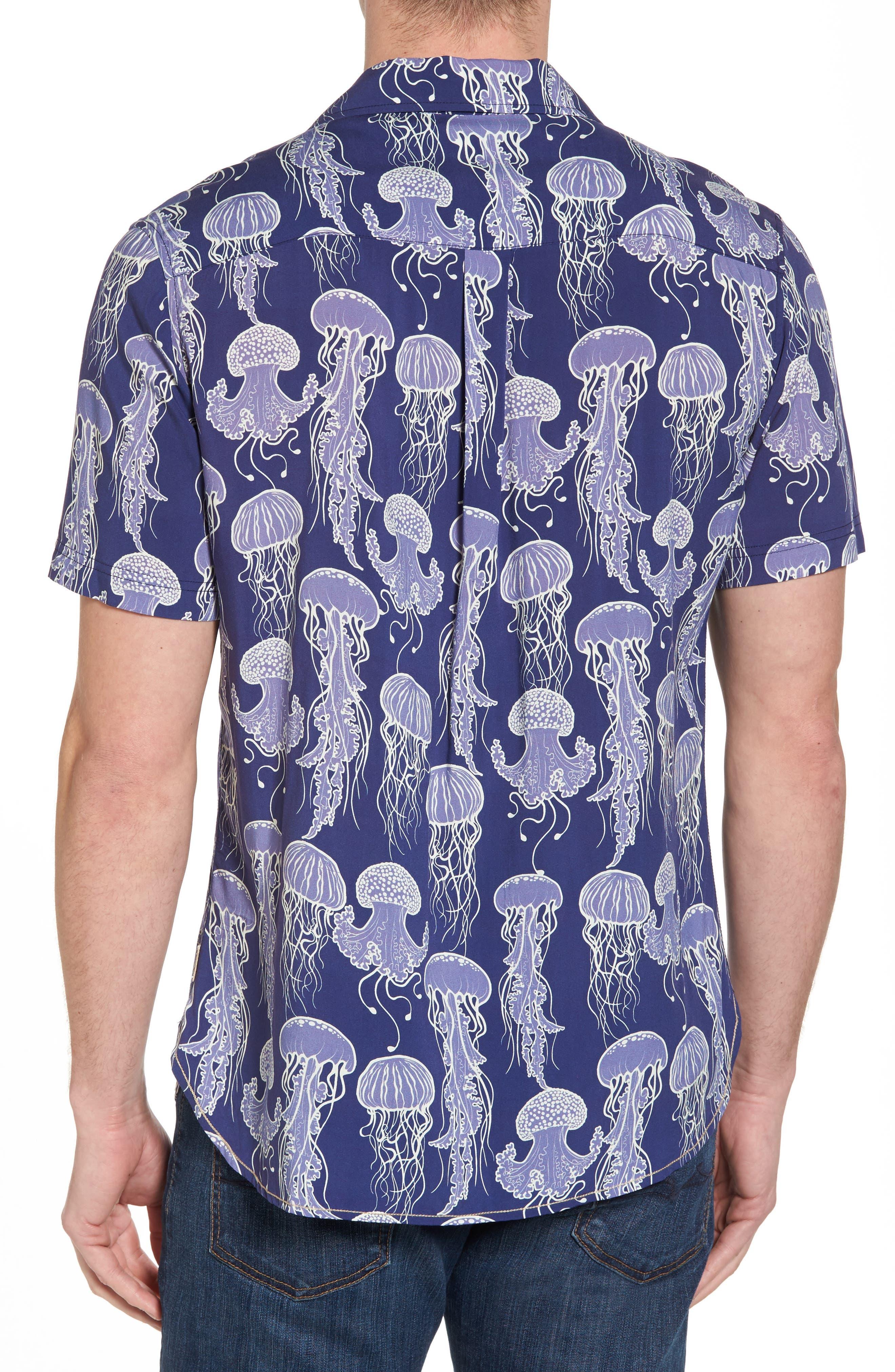 Jellyfish Print Camp Shirt,                             Alternate thumbnail 2, color,                             Grape